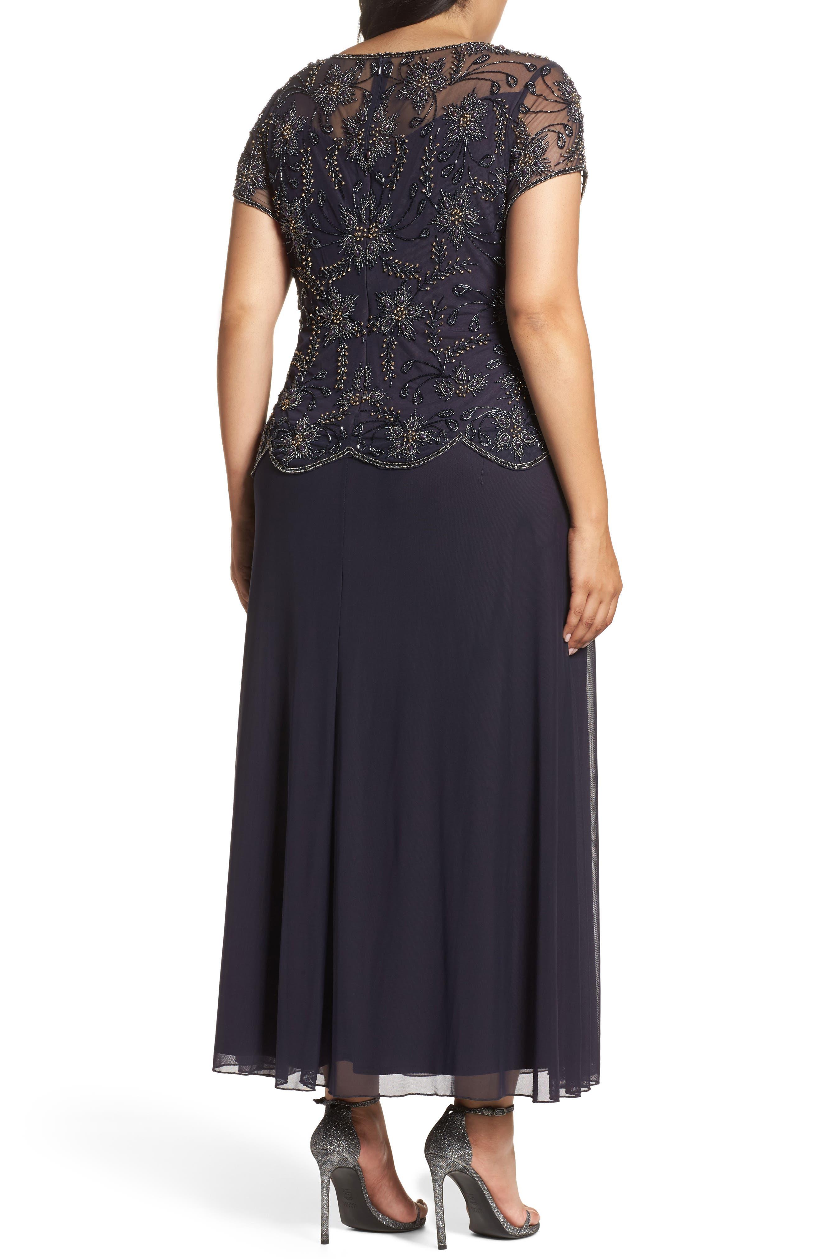 Alternate Image 2  - Pisarro Nights Embellished Mock Two-Piece Maxi Dress (Plus Size)