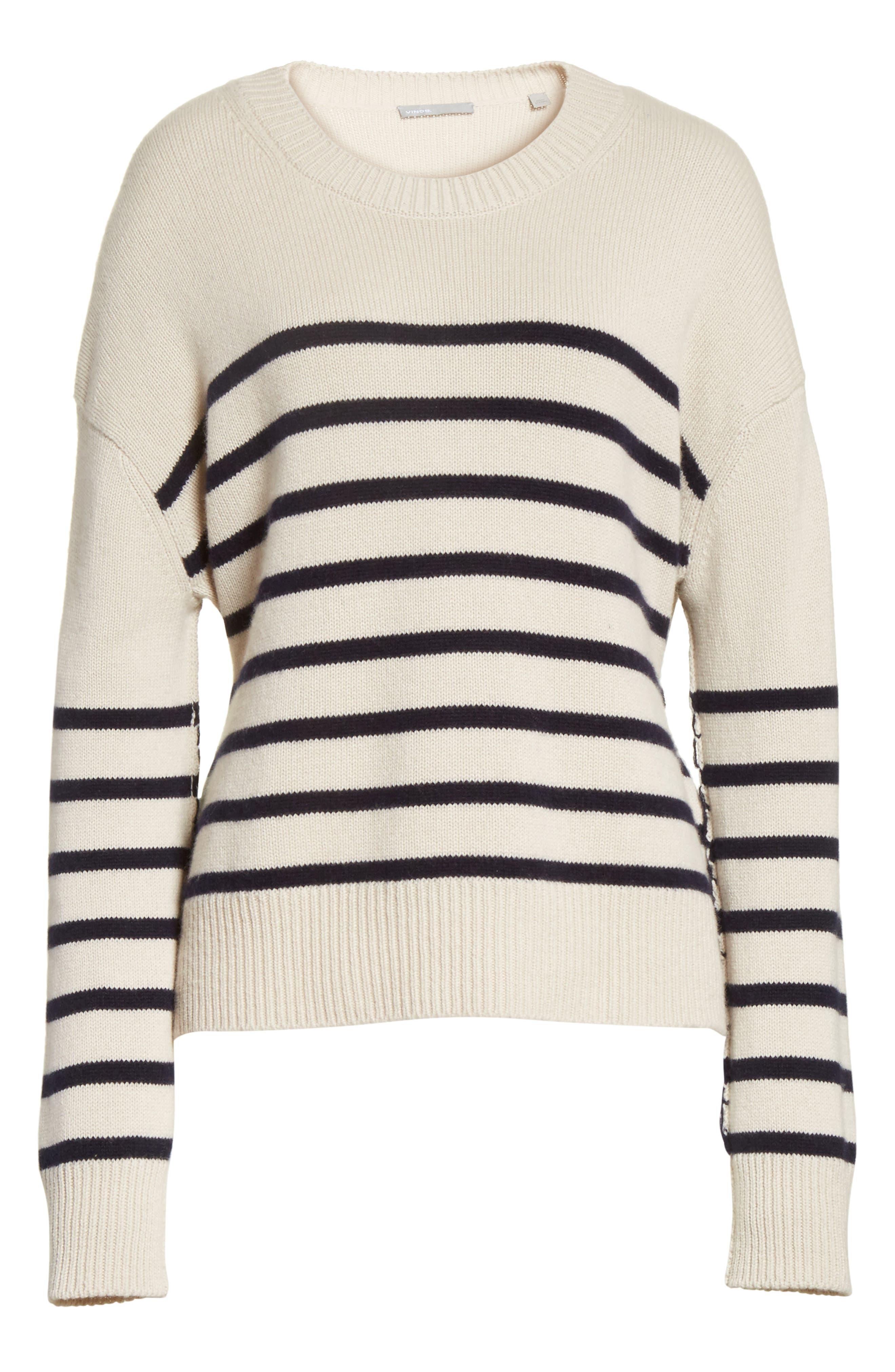 Cashmere Stripe Boxy Crew Sweater,                             Alternate thumbnail 6, color,                             Chalet/ Coastal
