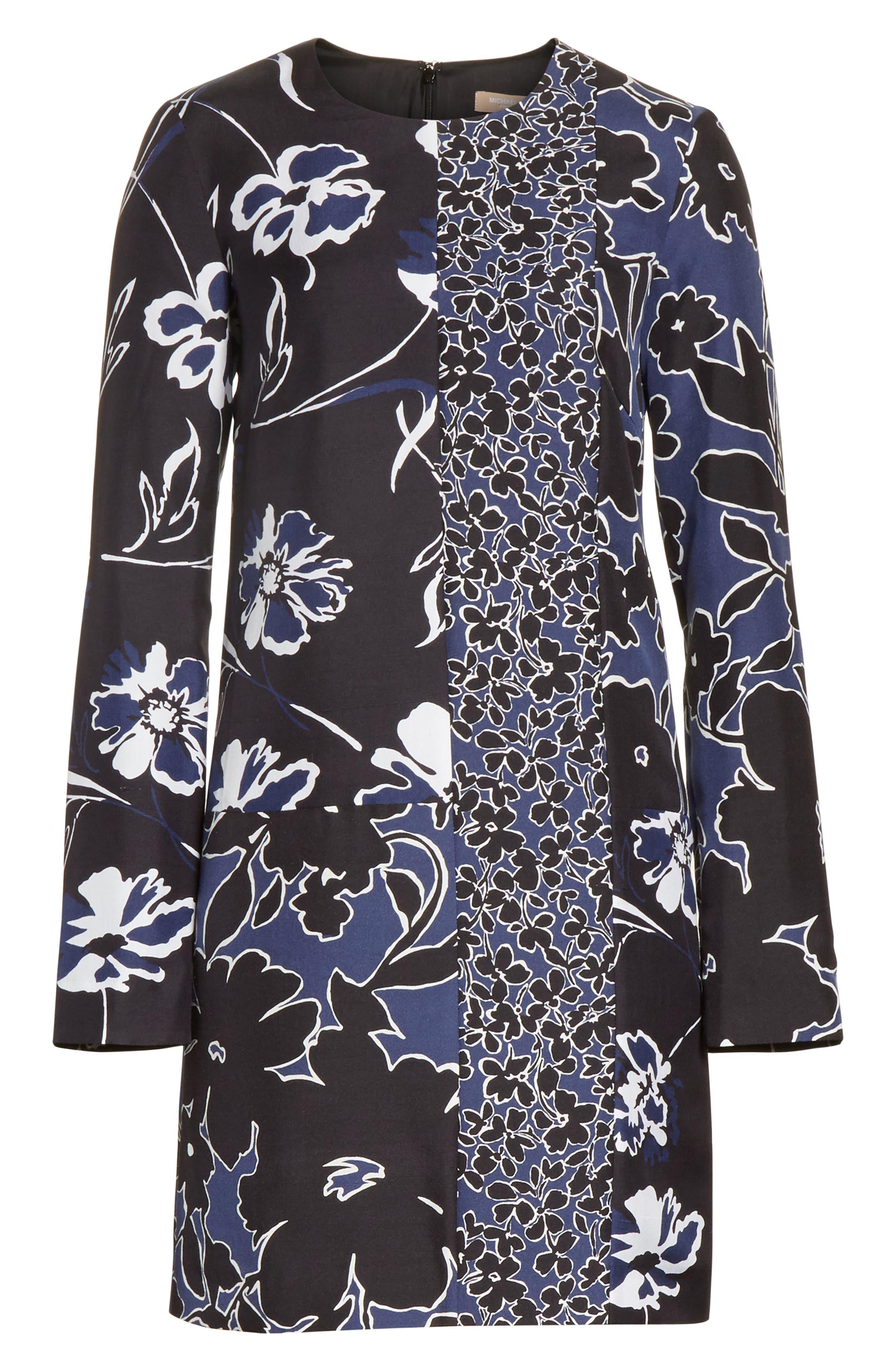 Floral Dupioni Silk Shift Dress,                             Alternate thumbnail 7, color,                             Sapphire