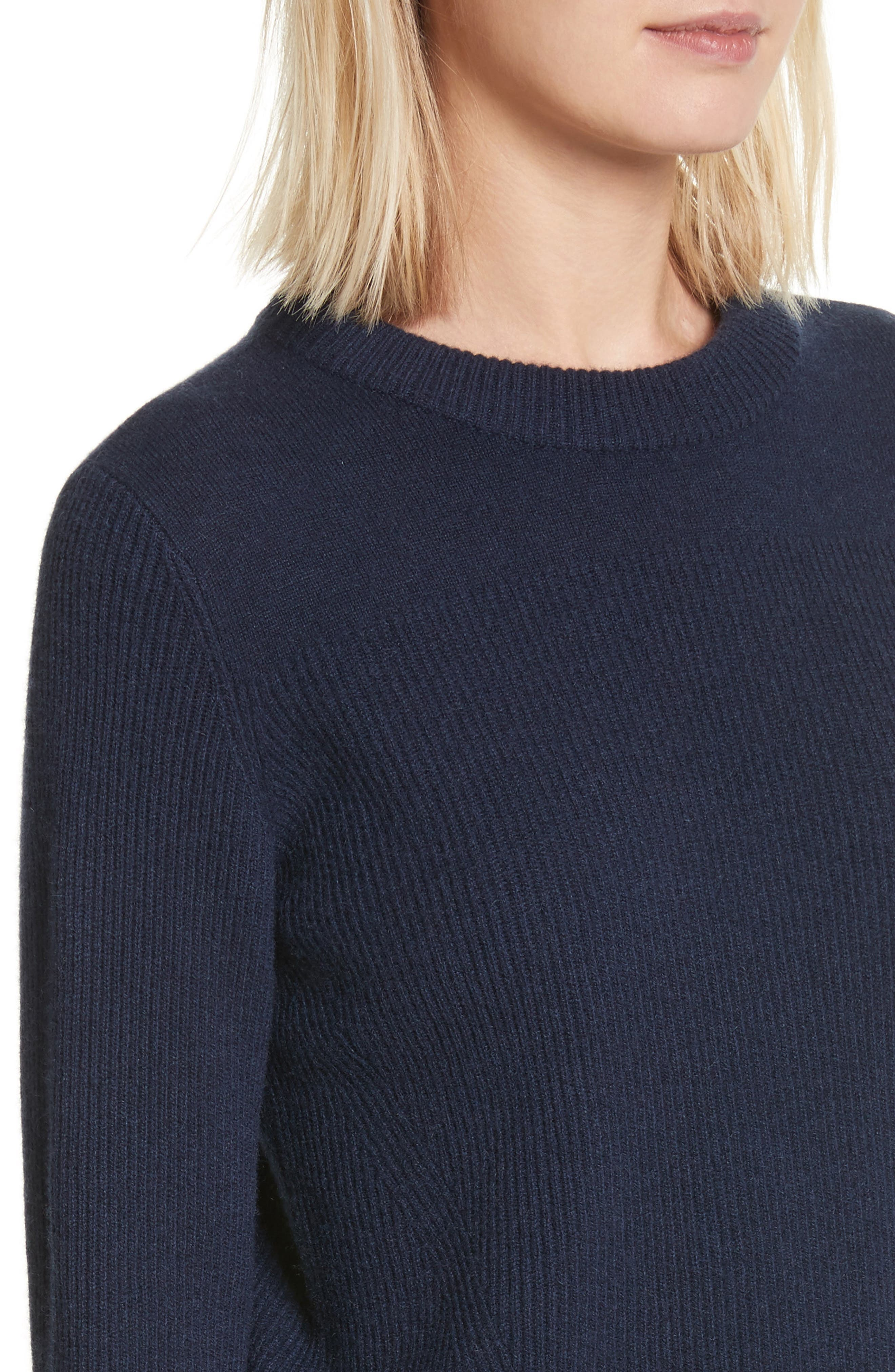 Ace Cashmere Crop Sweater,                             Alternate thumbnail 4, color,                             Navy