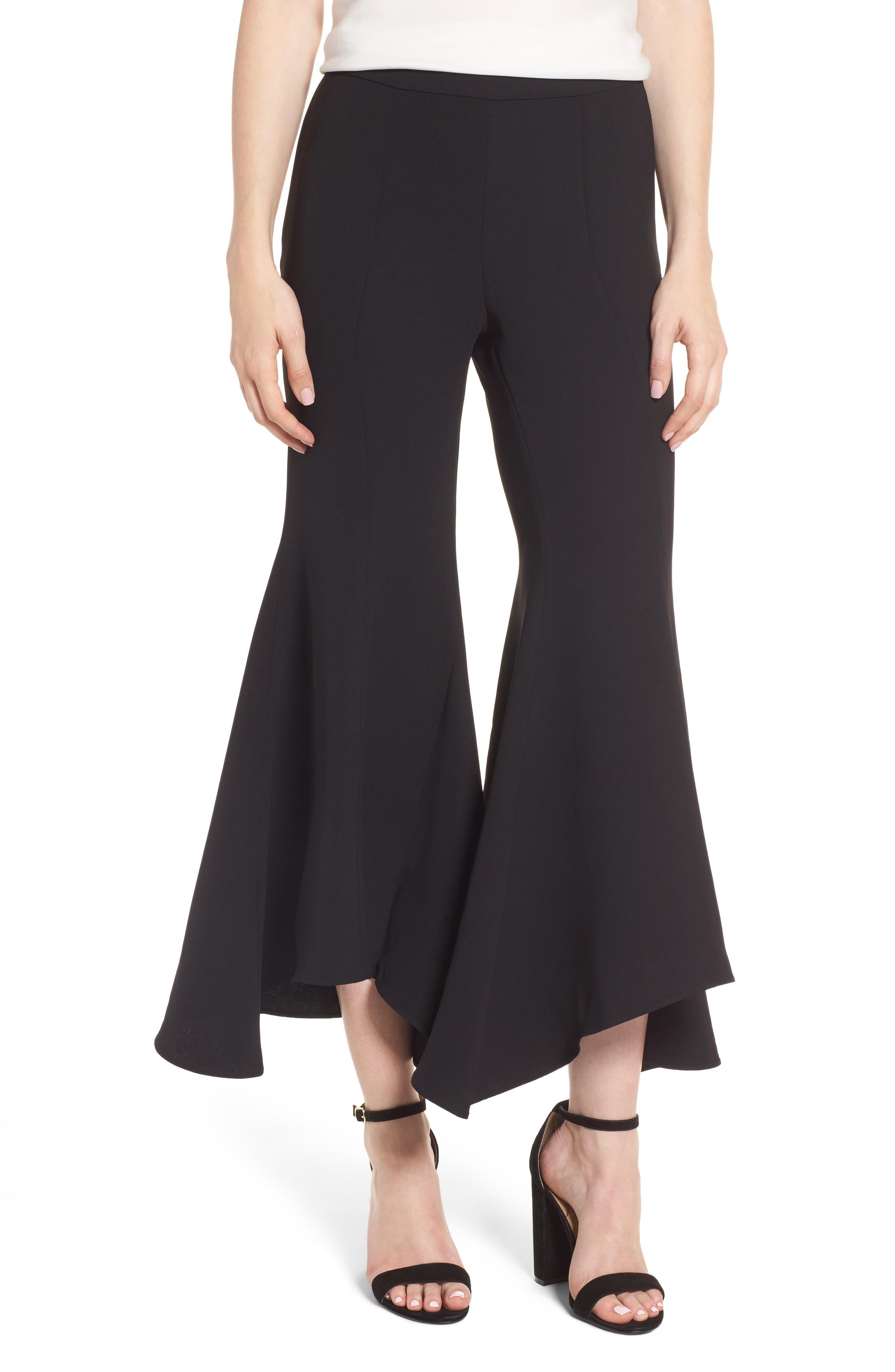 Ruffle Crop Flare Pants,                             Main thumbnail 1, color,                             Black