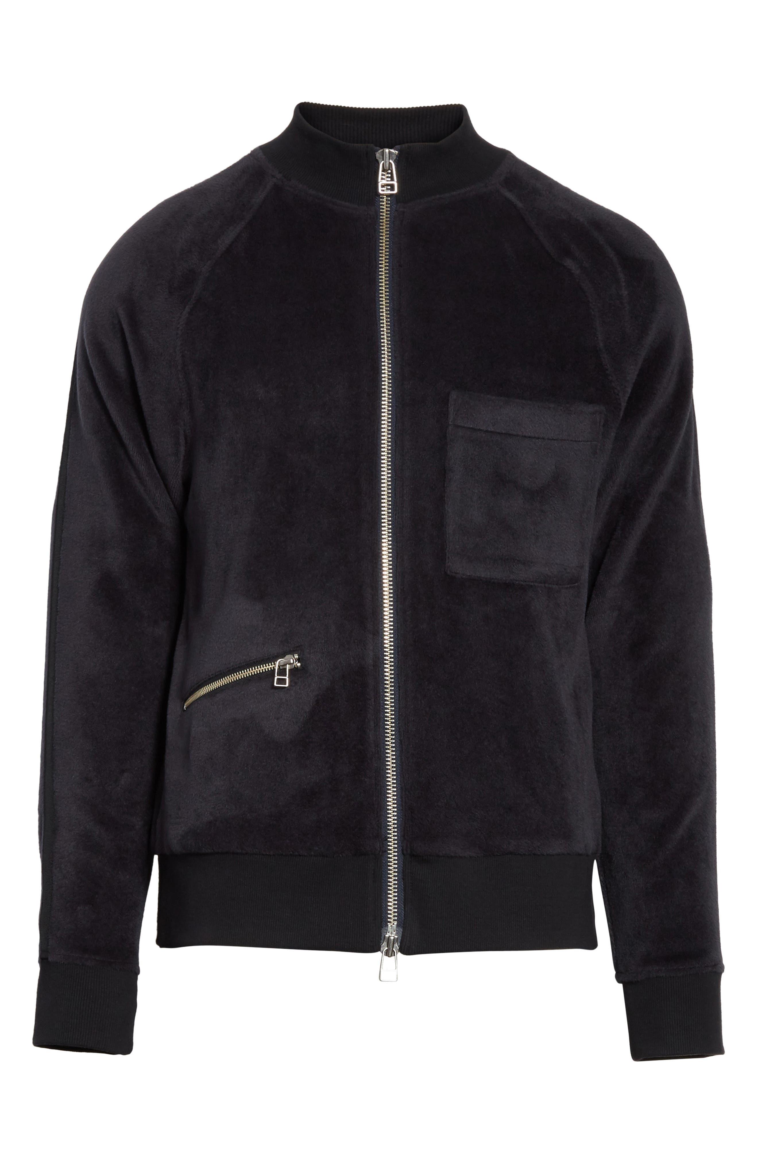 Velour Zip Jacket,                             Alternate thumbnail 6, color,                             Faded Blue