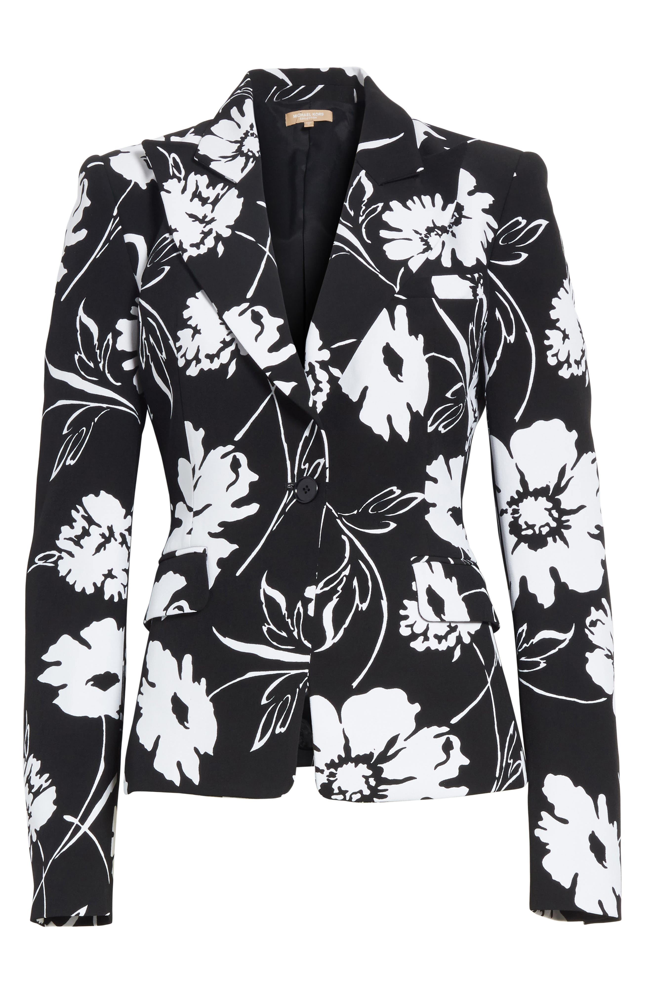 Floral Print Blazer,                             Alternate thumbnail 6, color,                             Black / White