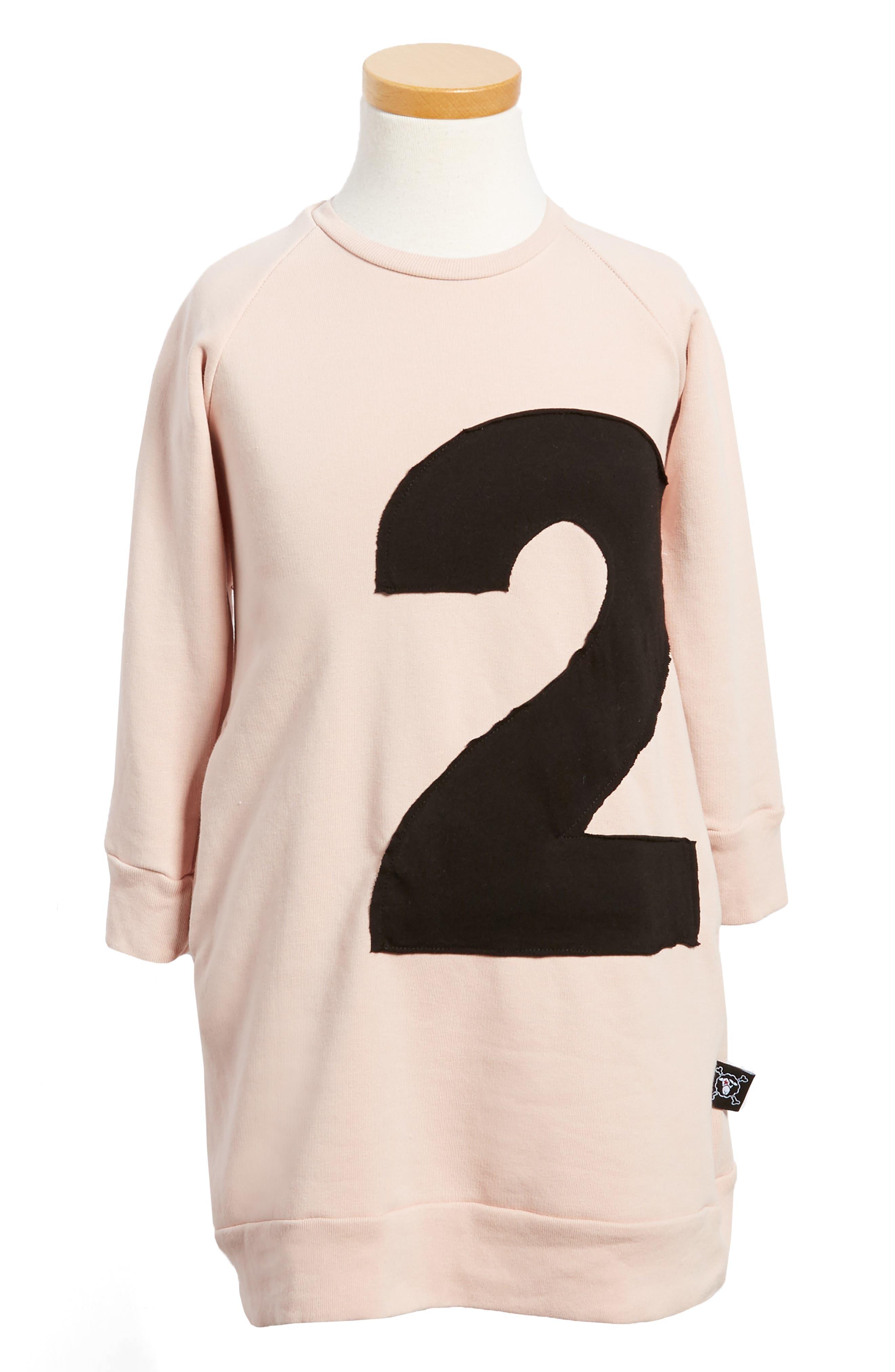 Puffy Number Sweashirt Dress,                         Main,                         color, Powder Pink