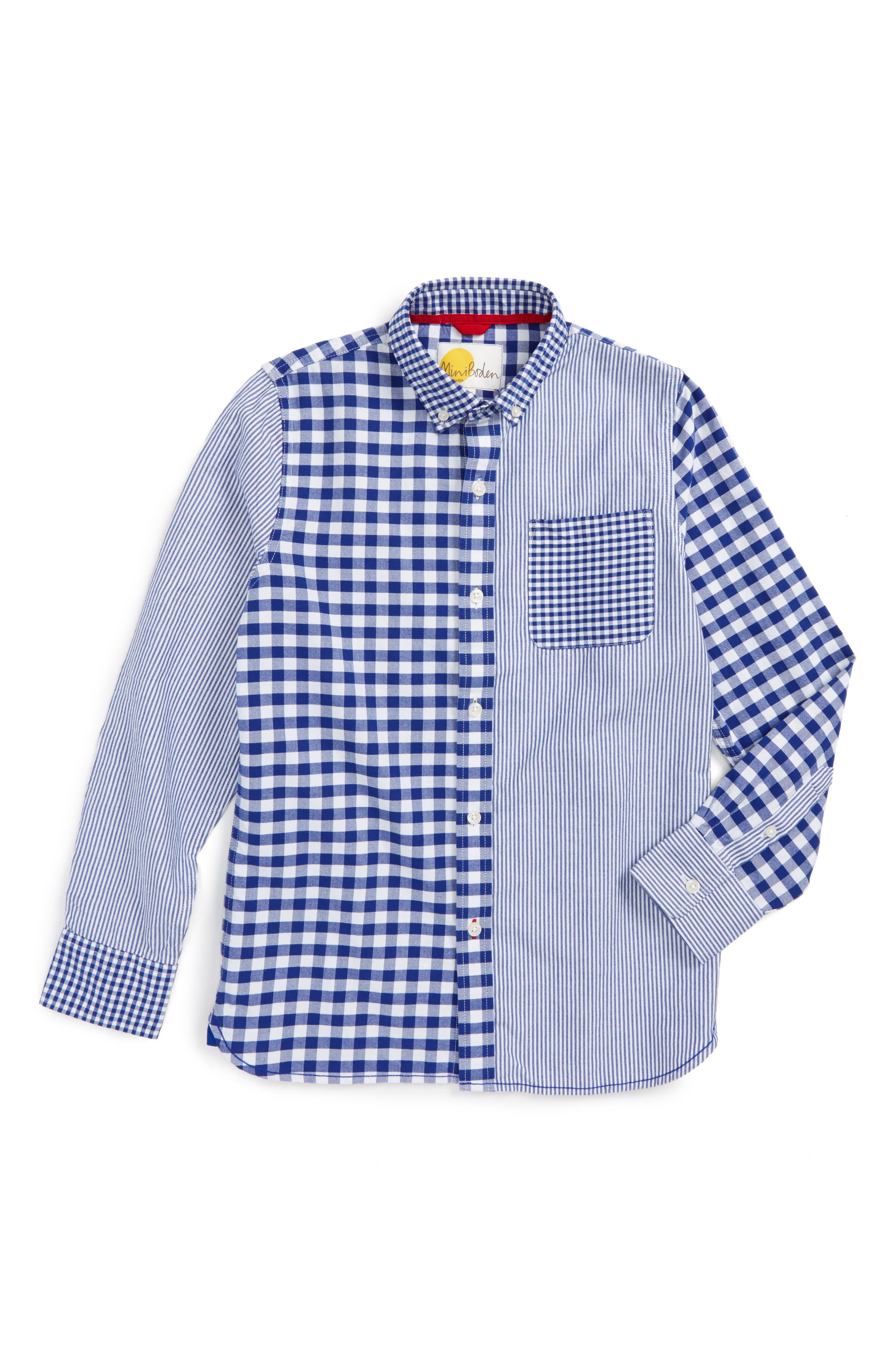 Mini Boden Hotchpotch Mixed Pattern Dress Shirt (Toddler Boys, Little Boys & Big Boys)