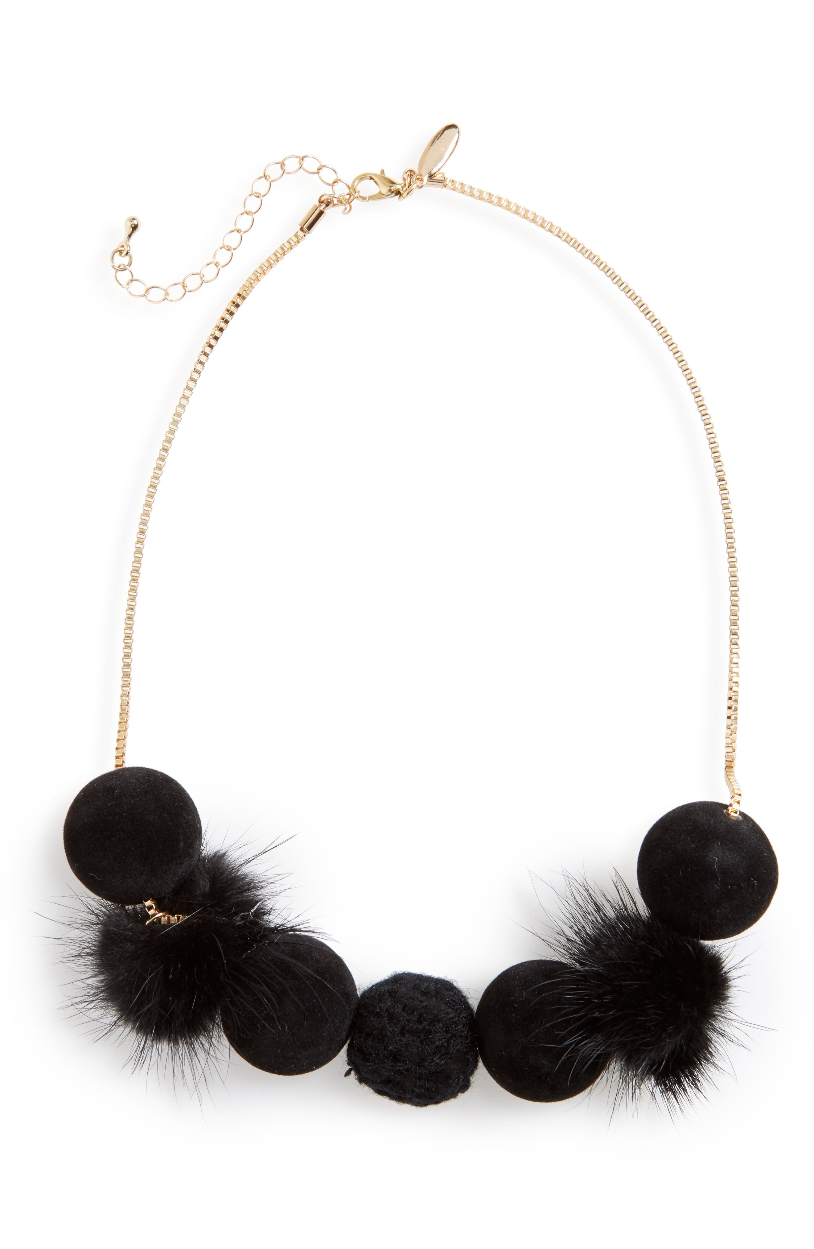 Fuzzy Pompom Necklace,                             Main thumbnail 1, color,                             Black