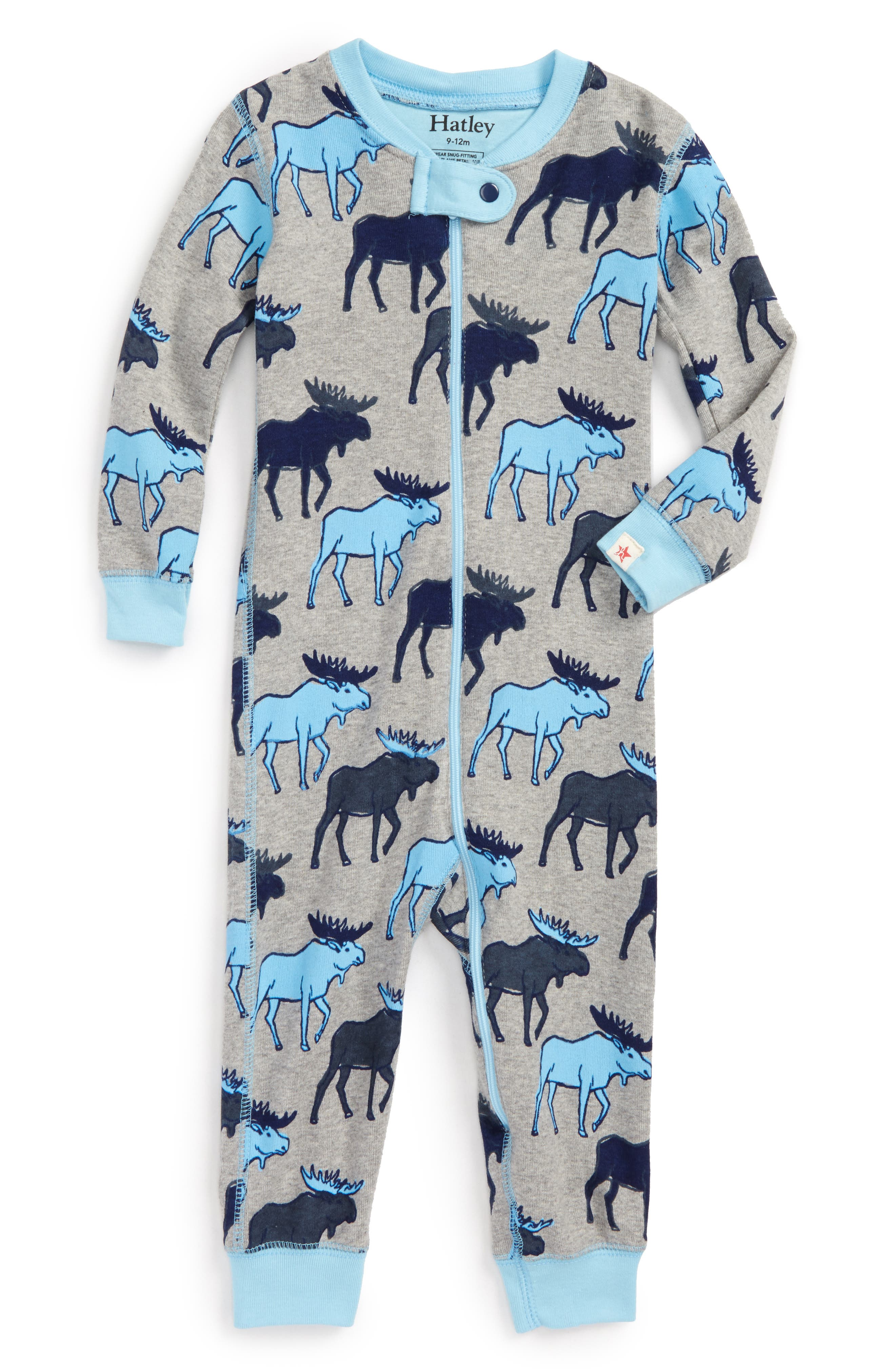 Organic Cotton Fitted One-Piece Pajamas,                         Main,                         color, Blue Moose