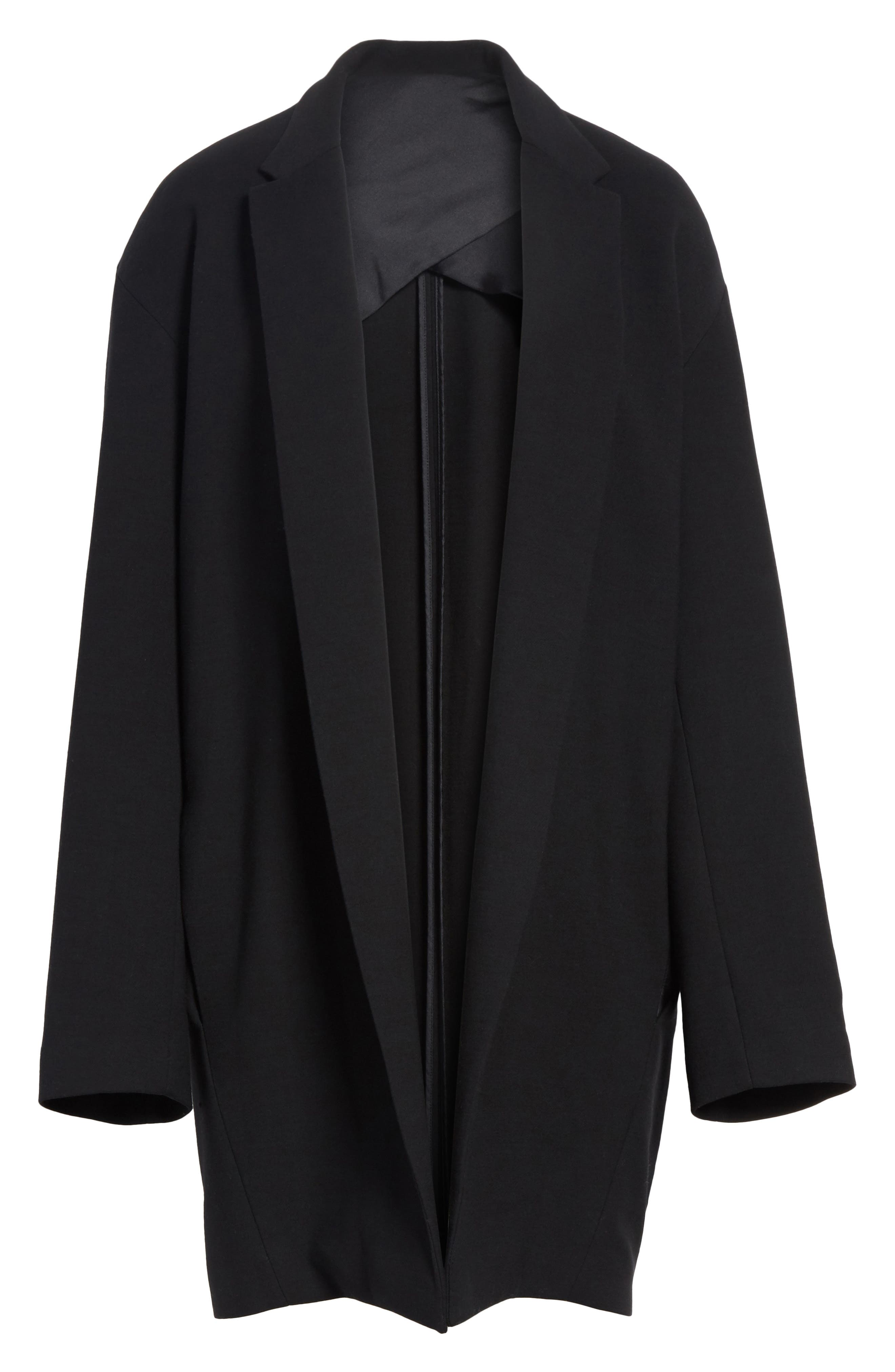 Open Front Blazer Coat,                             Alternate thumbnail 6, color,                             Black