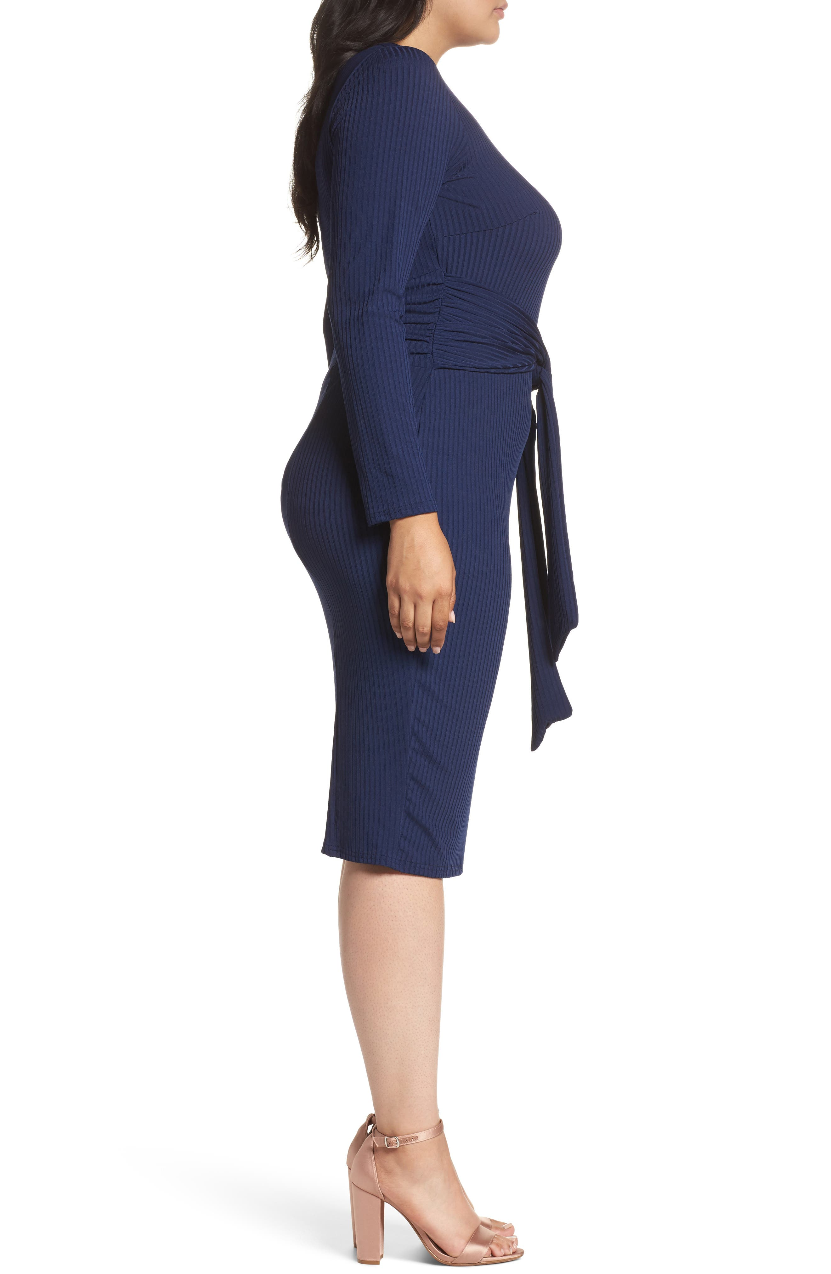 Tie Front Ribbed Sheath Dress,                             Alternate thumbnail 5, color,                             Navy