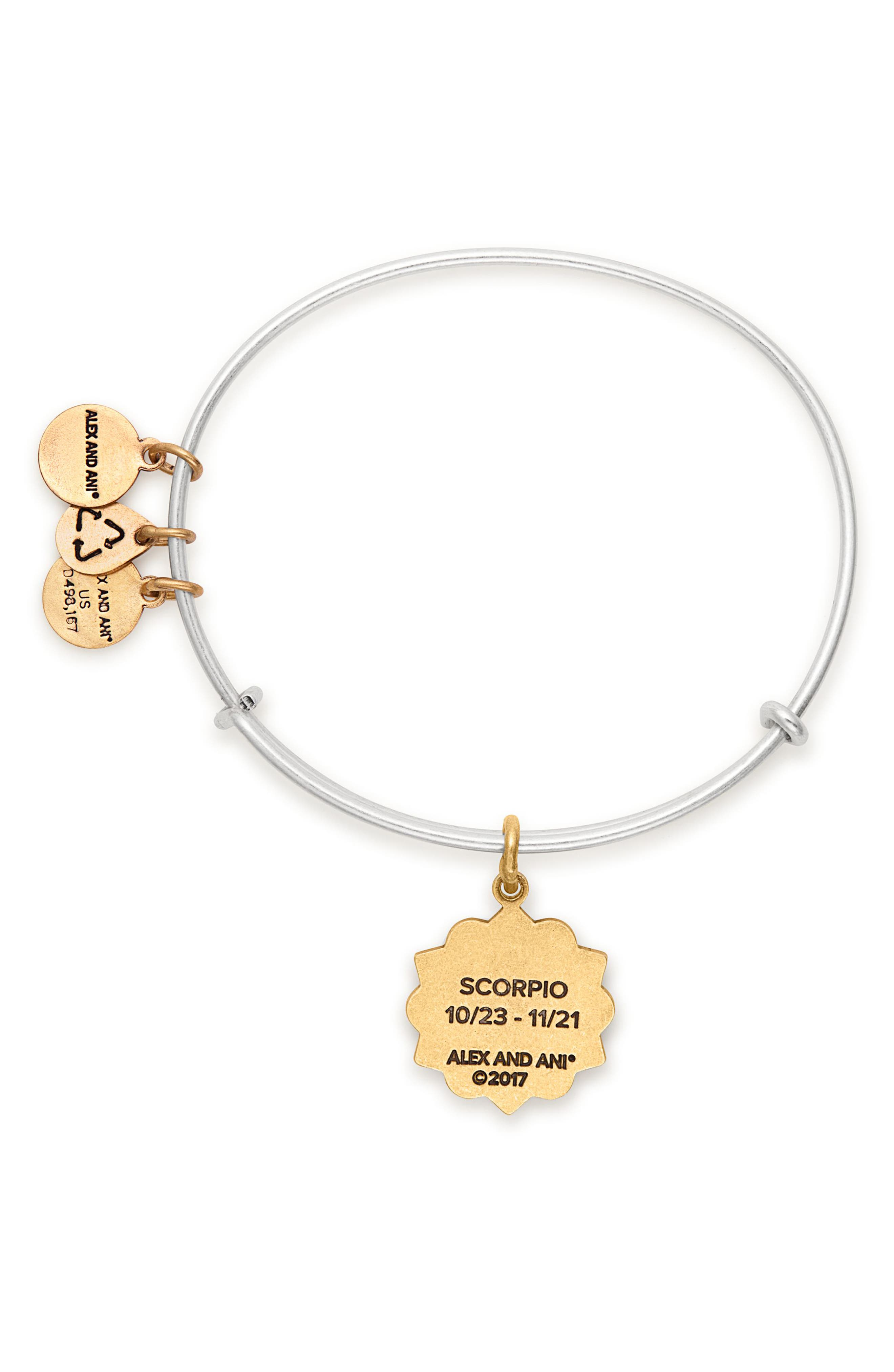 Zodiac Charm Expandable Wire Bangle,                             Alternate thumbnail 2, color,                             Scorpio/ Two-Toned