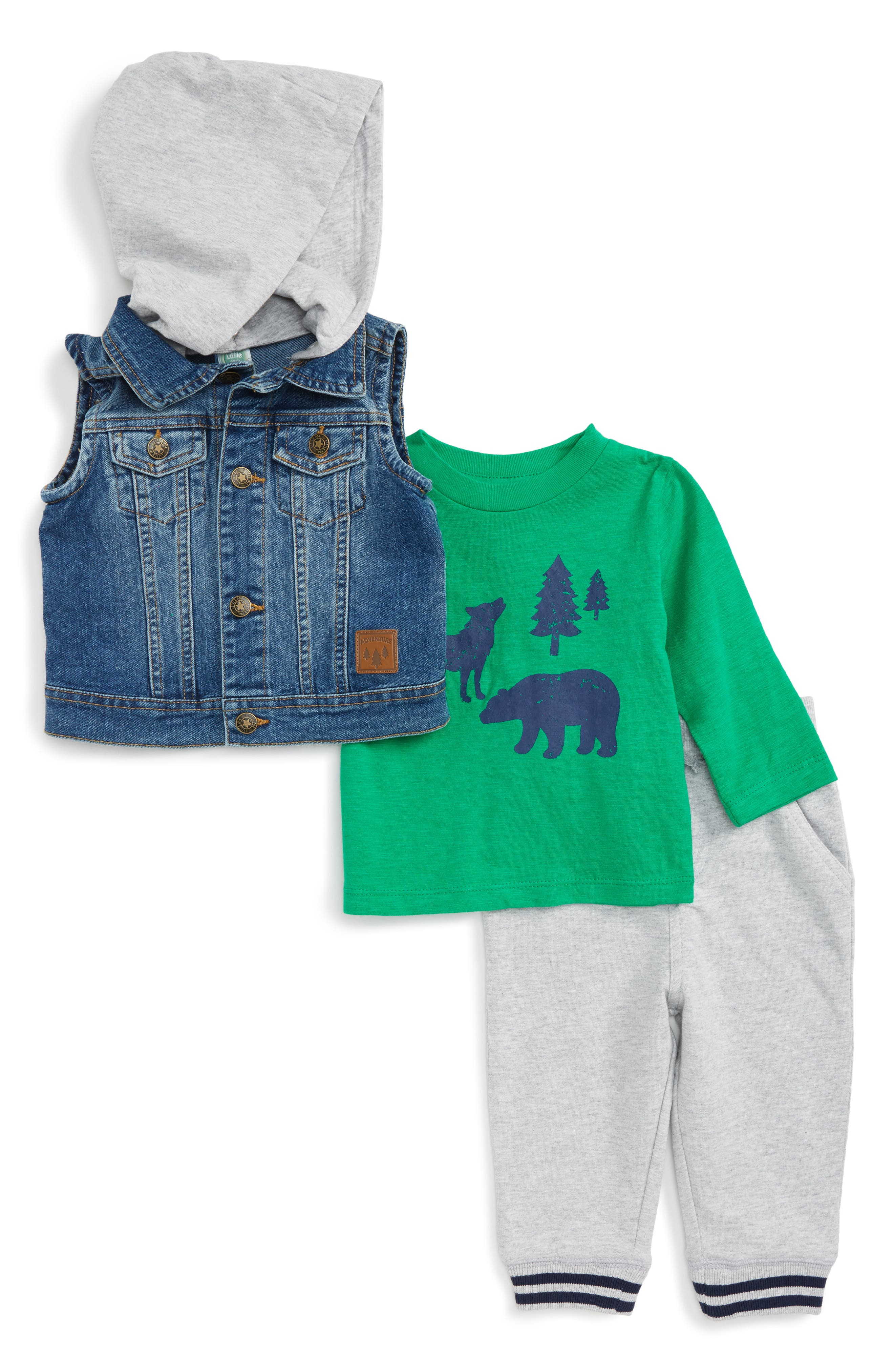 Main Image - Little Me Denim Vest, T-shirt & Pants Set (Baby Boys)