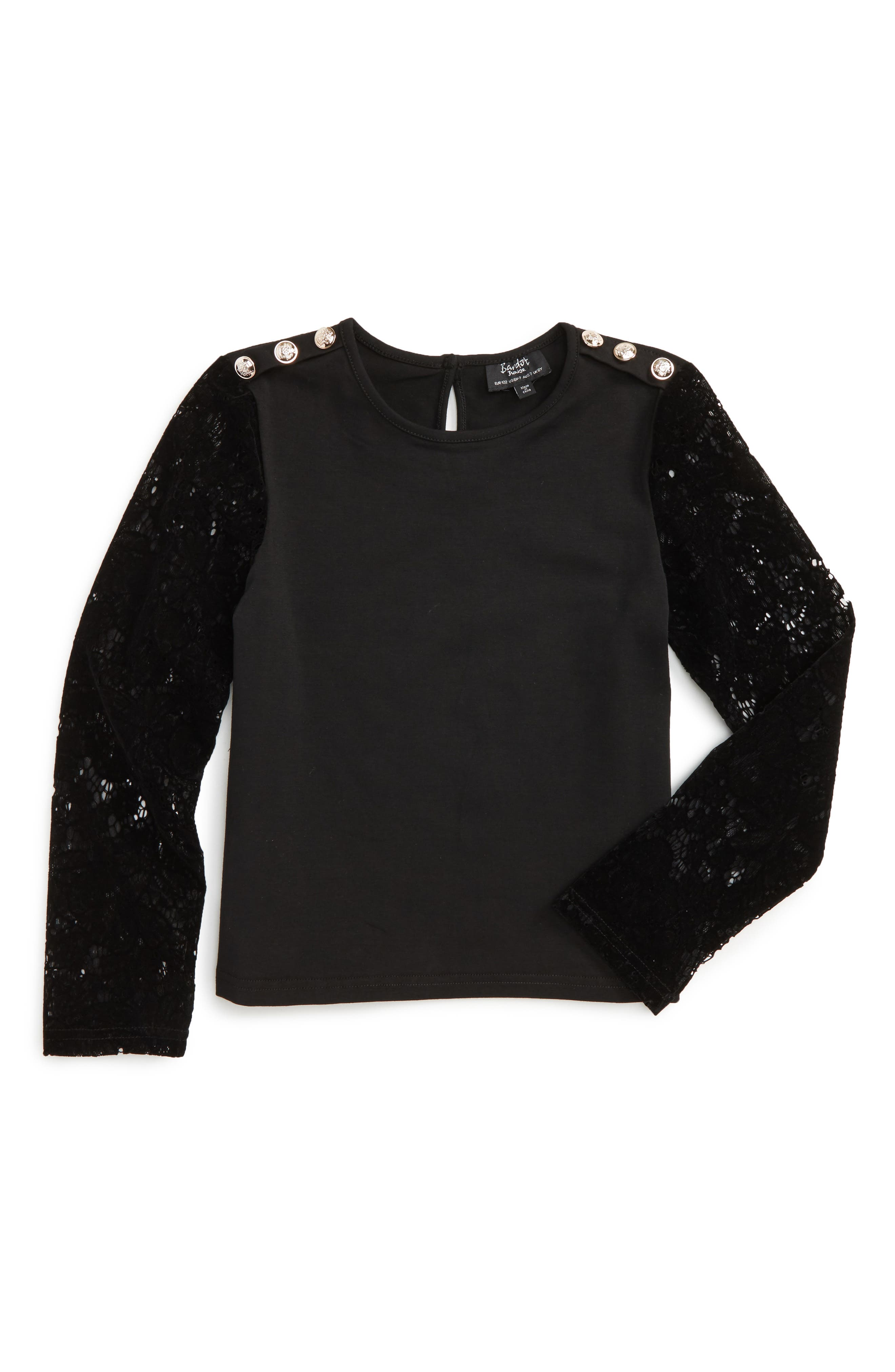 Flocked Sleeve Top,                             Main thumbnail 1, color,                             Black