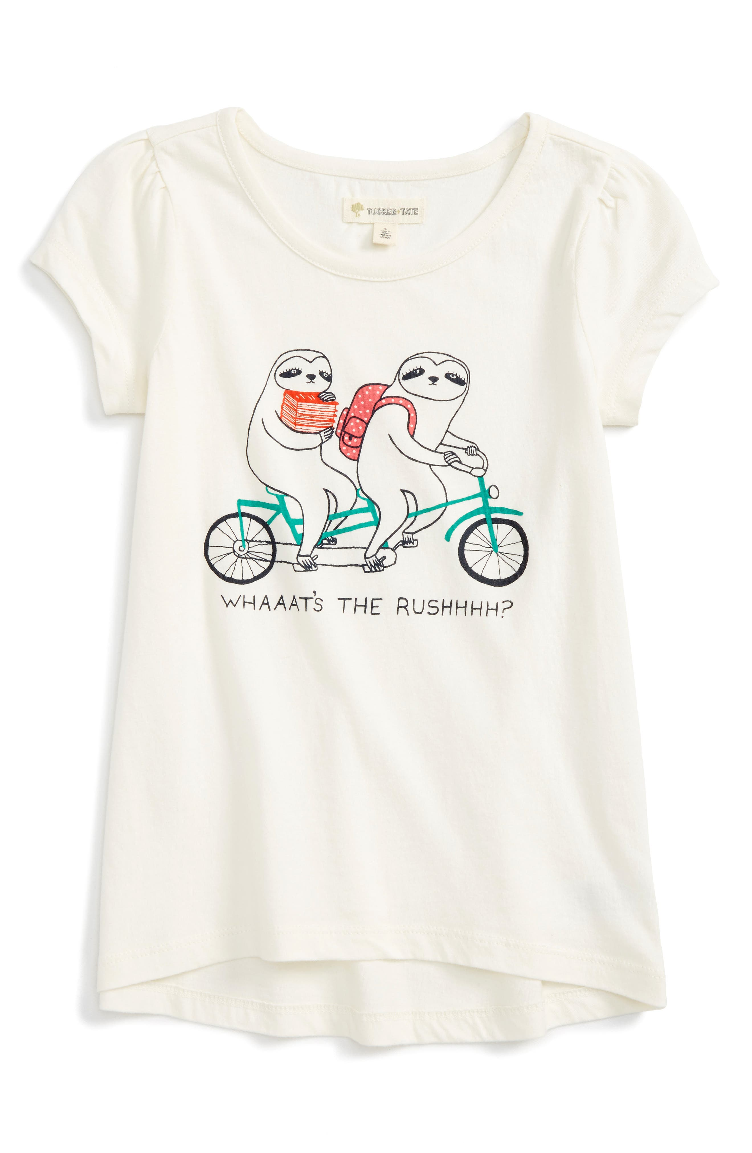 High/Low Graphic Tee,                             Main thumbnail 1, color,                             Ivory Egret Sloths
