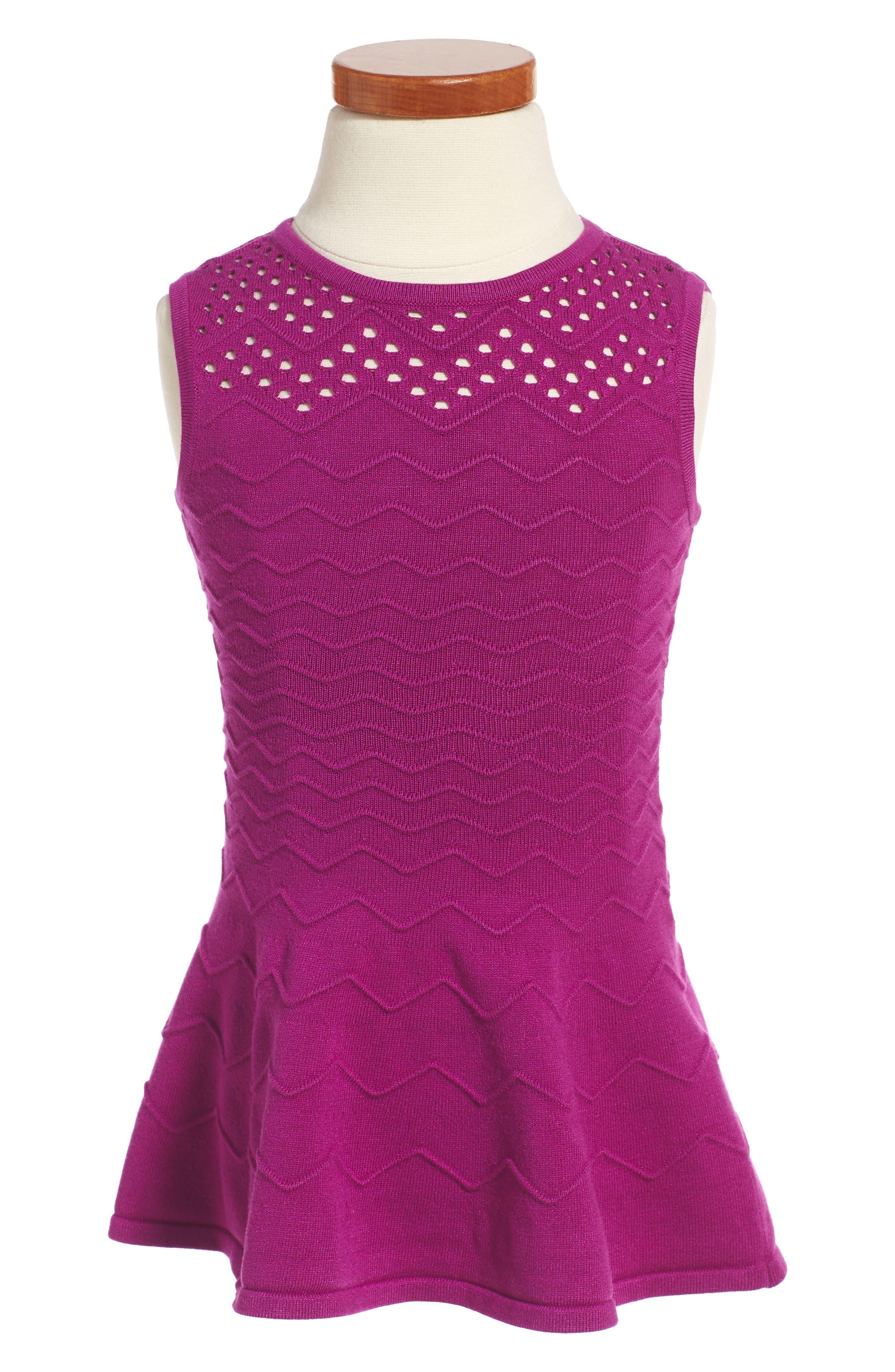 Chevron Ottoman Fit & Flare Dress,                         Main,                         color, Amethyst