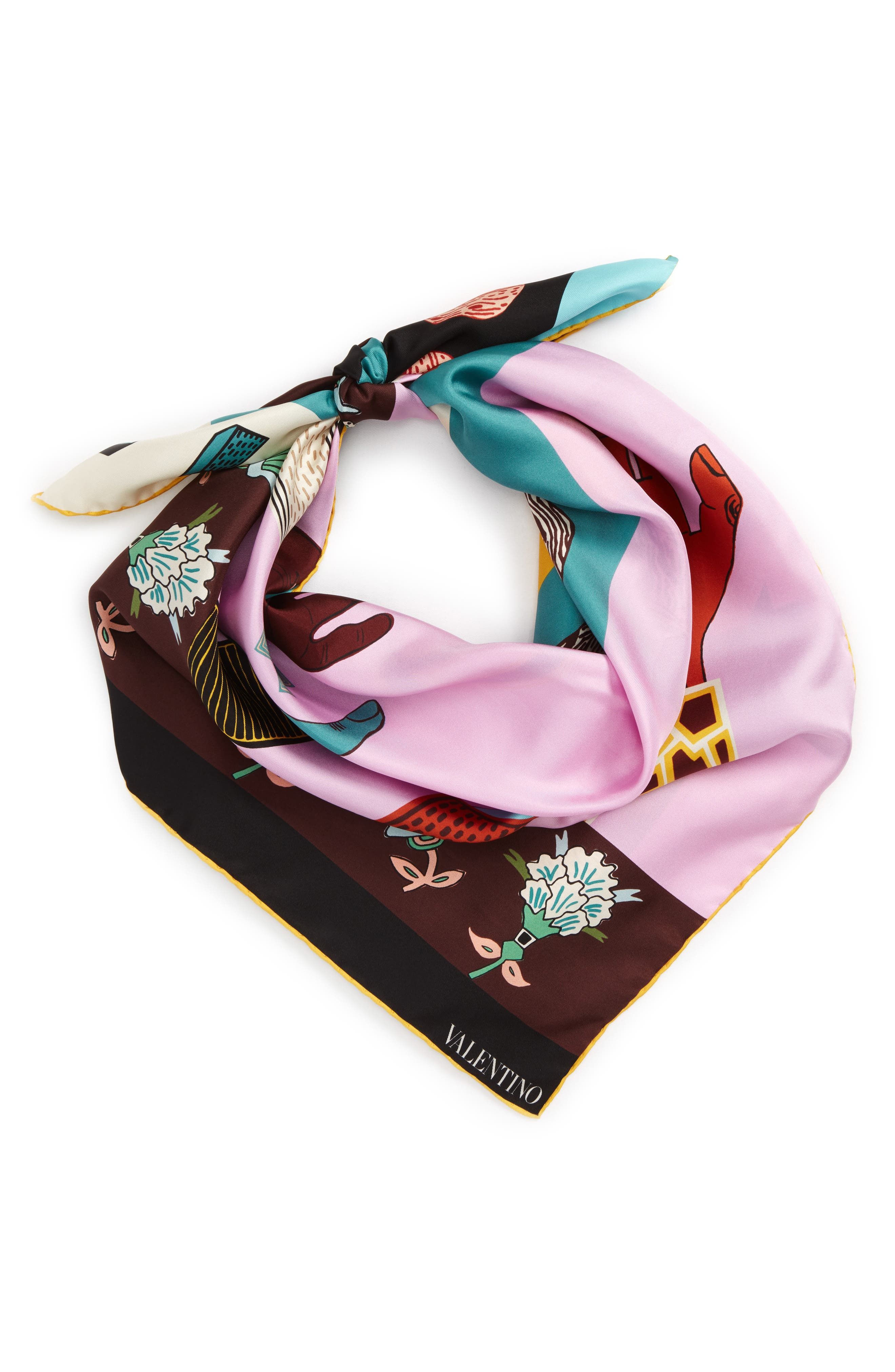 Counting Silk Scarf,                             Alternate thumbnail 2, color,                             Multicolor/ Cherry Blossom