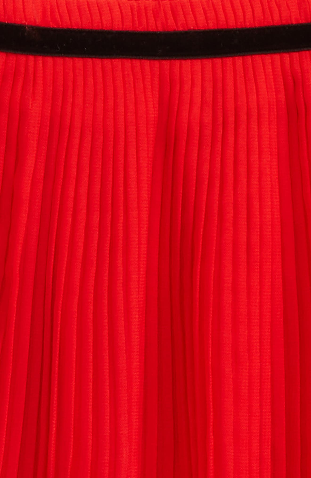 pleated chiffon skirt,                             Alternate thumbnail 2, color,                             Studio Red