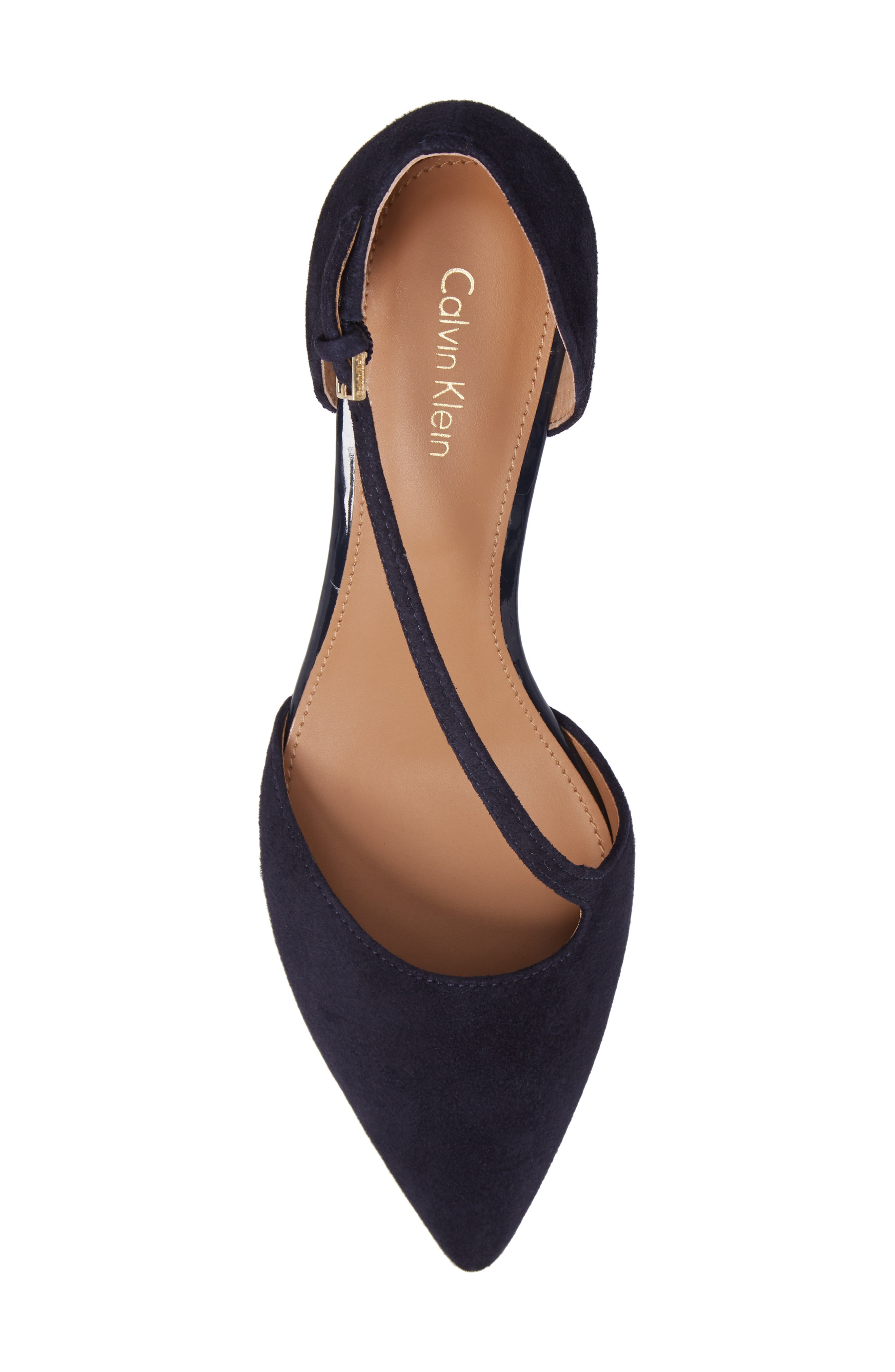 Page Pointy Toe Pump,                             Alternate thumbnail 5, color,                             Deep Navy Suede