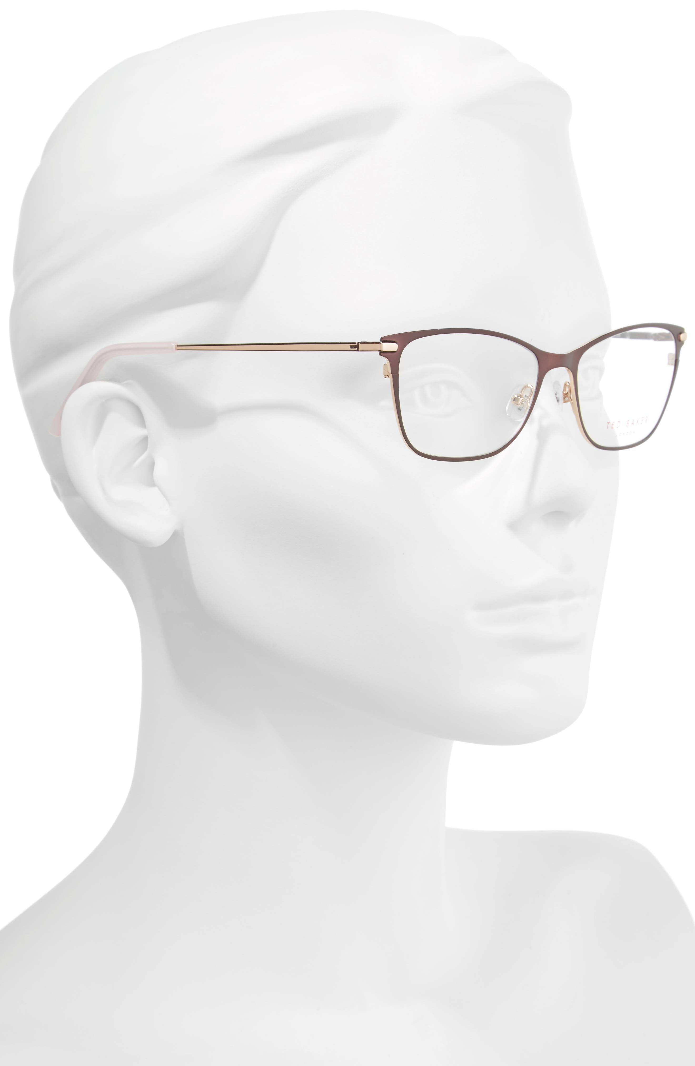 51mm Metal Cat Eye Optical Glasses,                             Alternate thumbnail 2, color,                             Brown