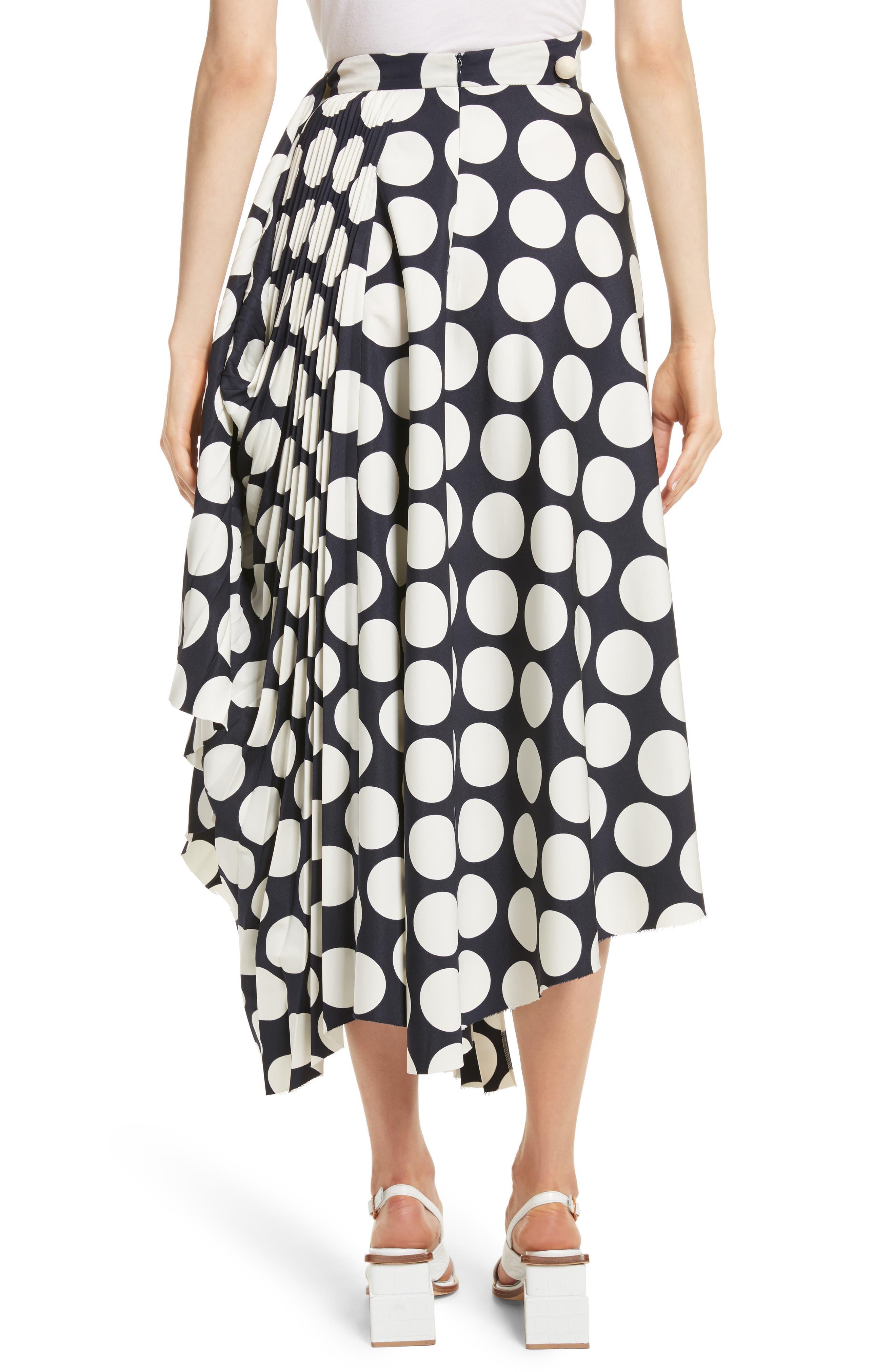Giant Polka Dot Pleated Skirt,                             Alternate thumbnail 3, color,                             Navy/ Off-White