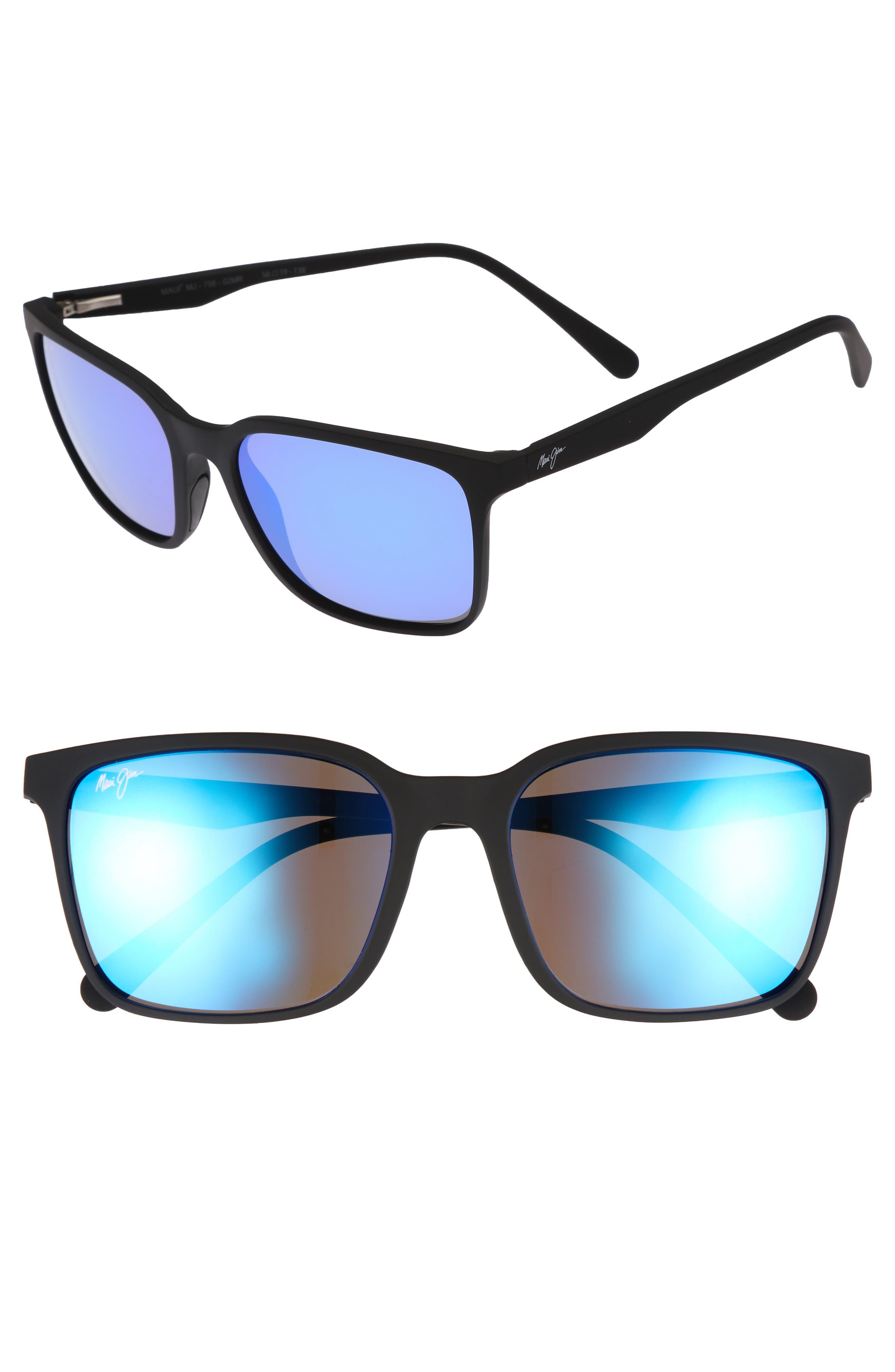 Wild Coast 56mm Polarized Sunglasses,                             Main thumbnail 1, color,                             Matte Black/ Blue Hawaii