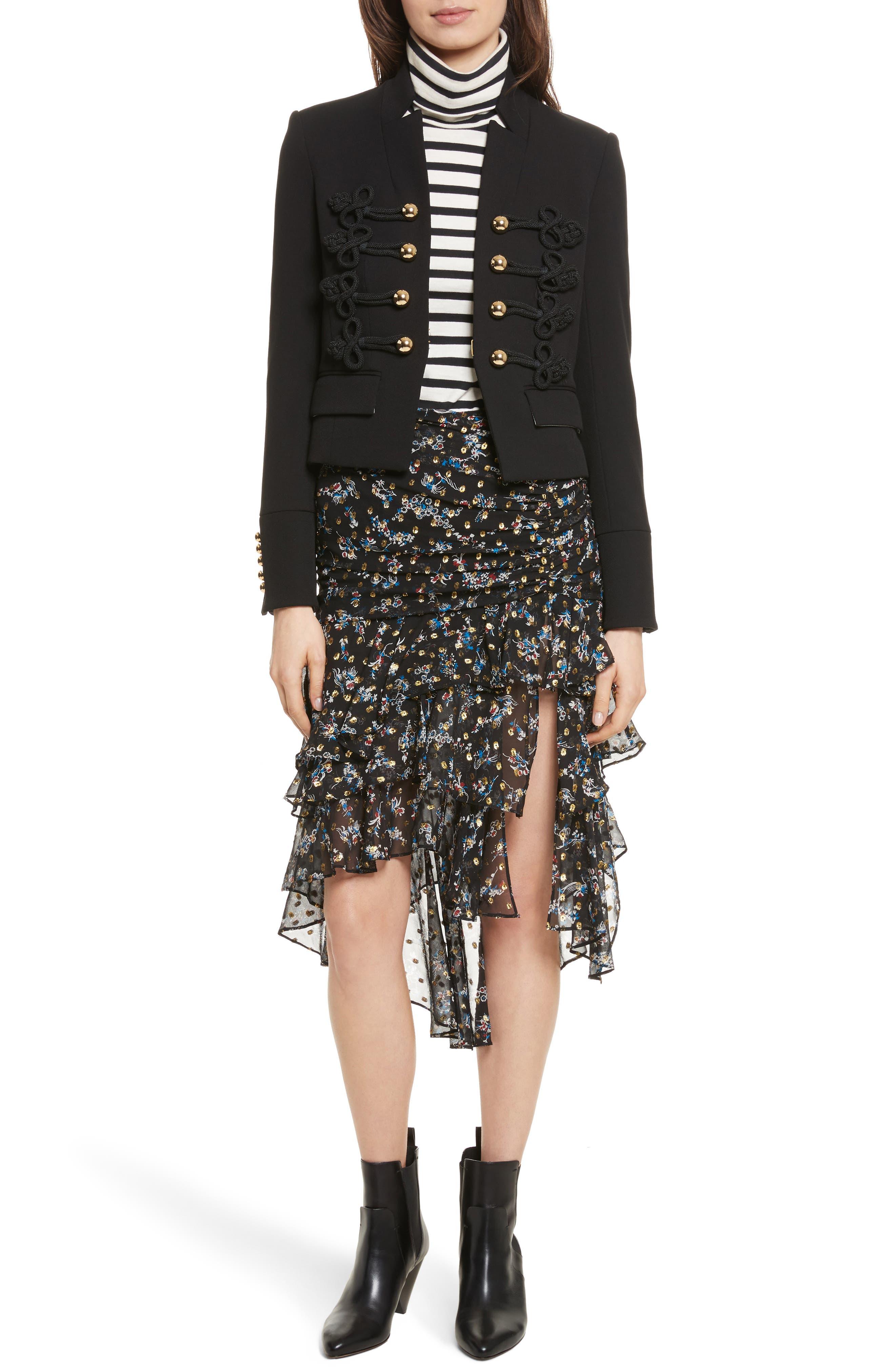 Alternate Image 2  - Veronica Beard Cella Metallic Floral Print Midi Skirt