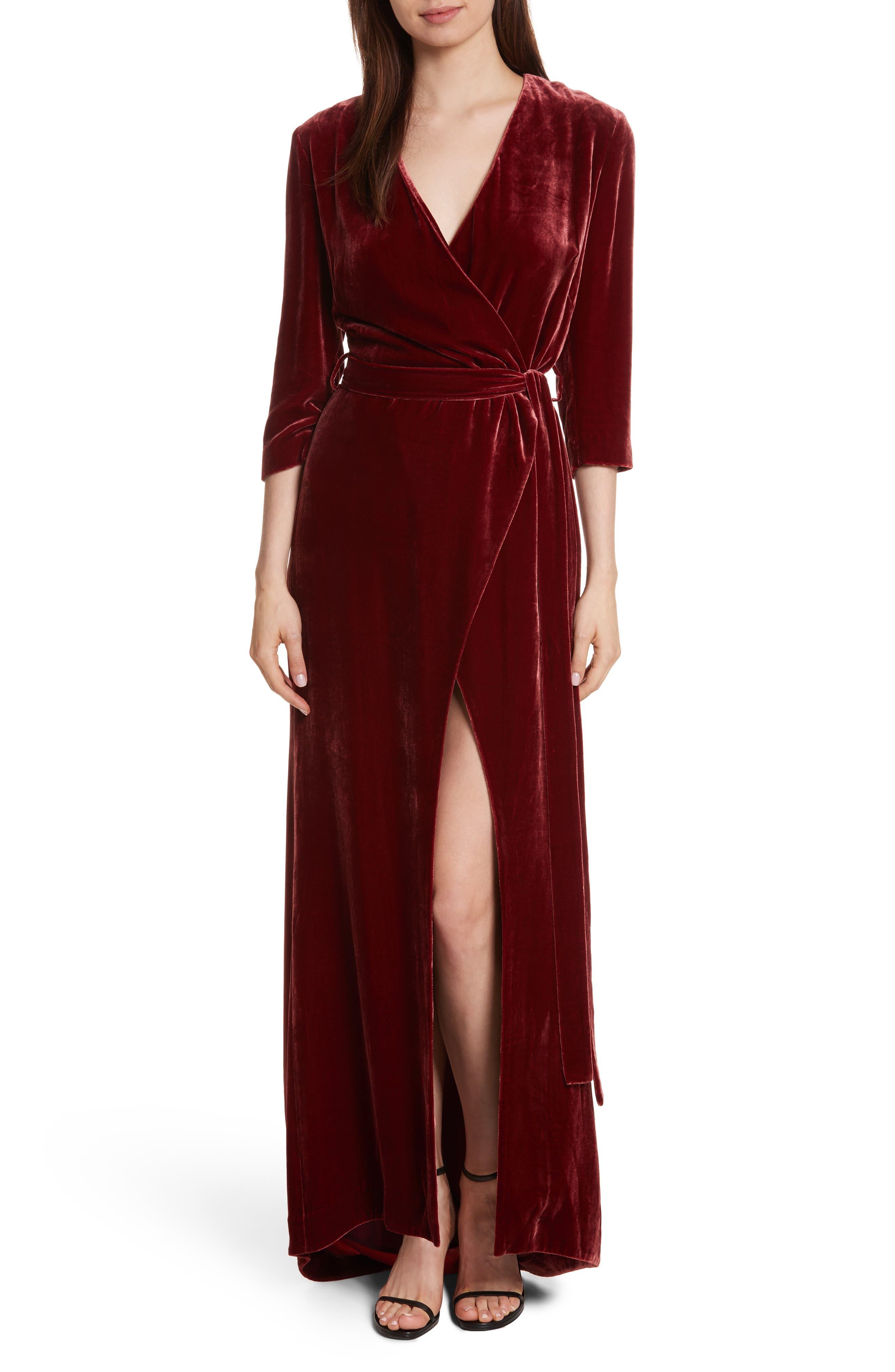 Rosalind Velvet Maxi Wrap Dress,                             Main thumbnail 1, color,                             Ruby