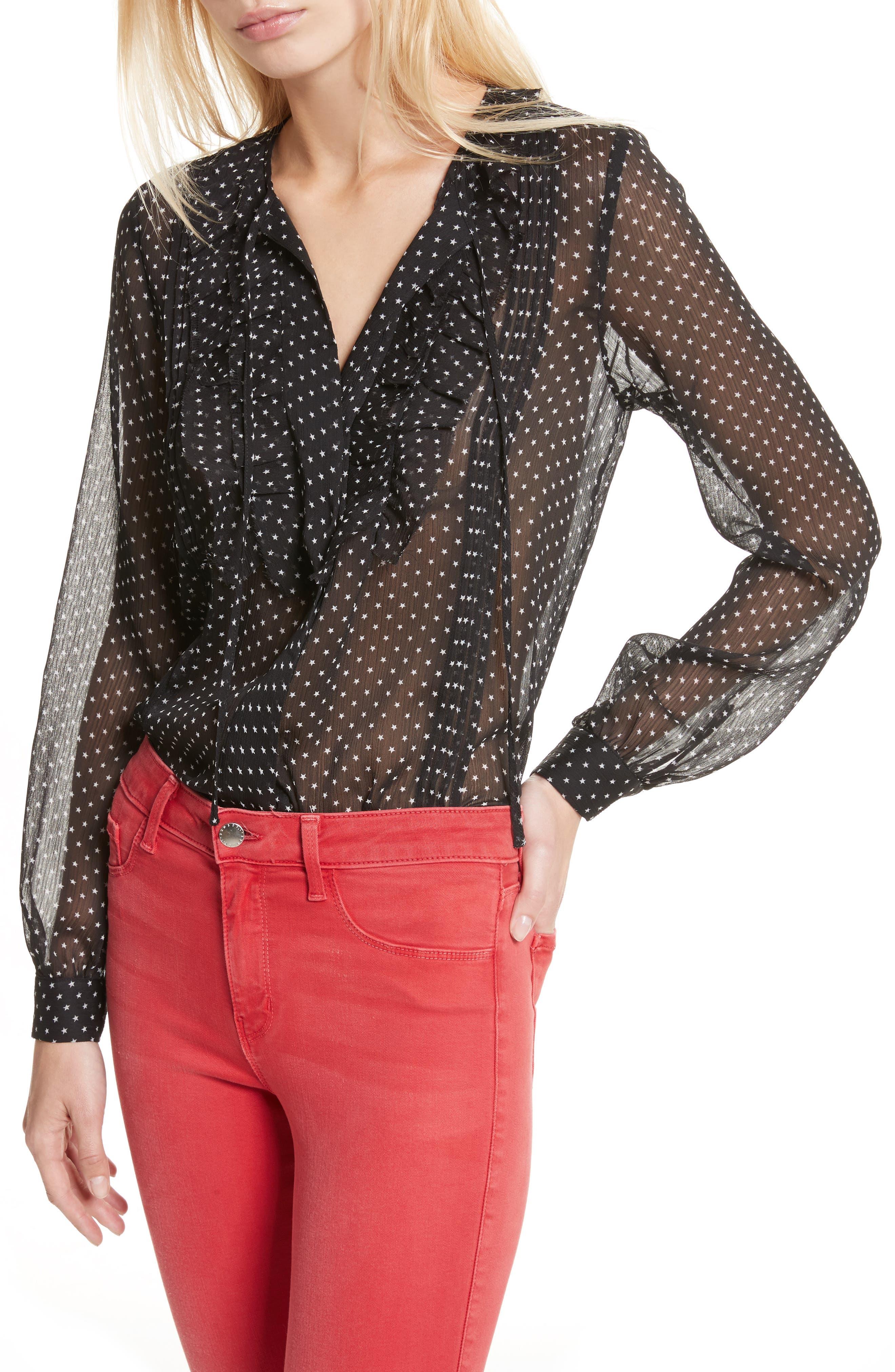 Tabitha Star Print Blouse,                         Main,                         color, Black/ Ivory