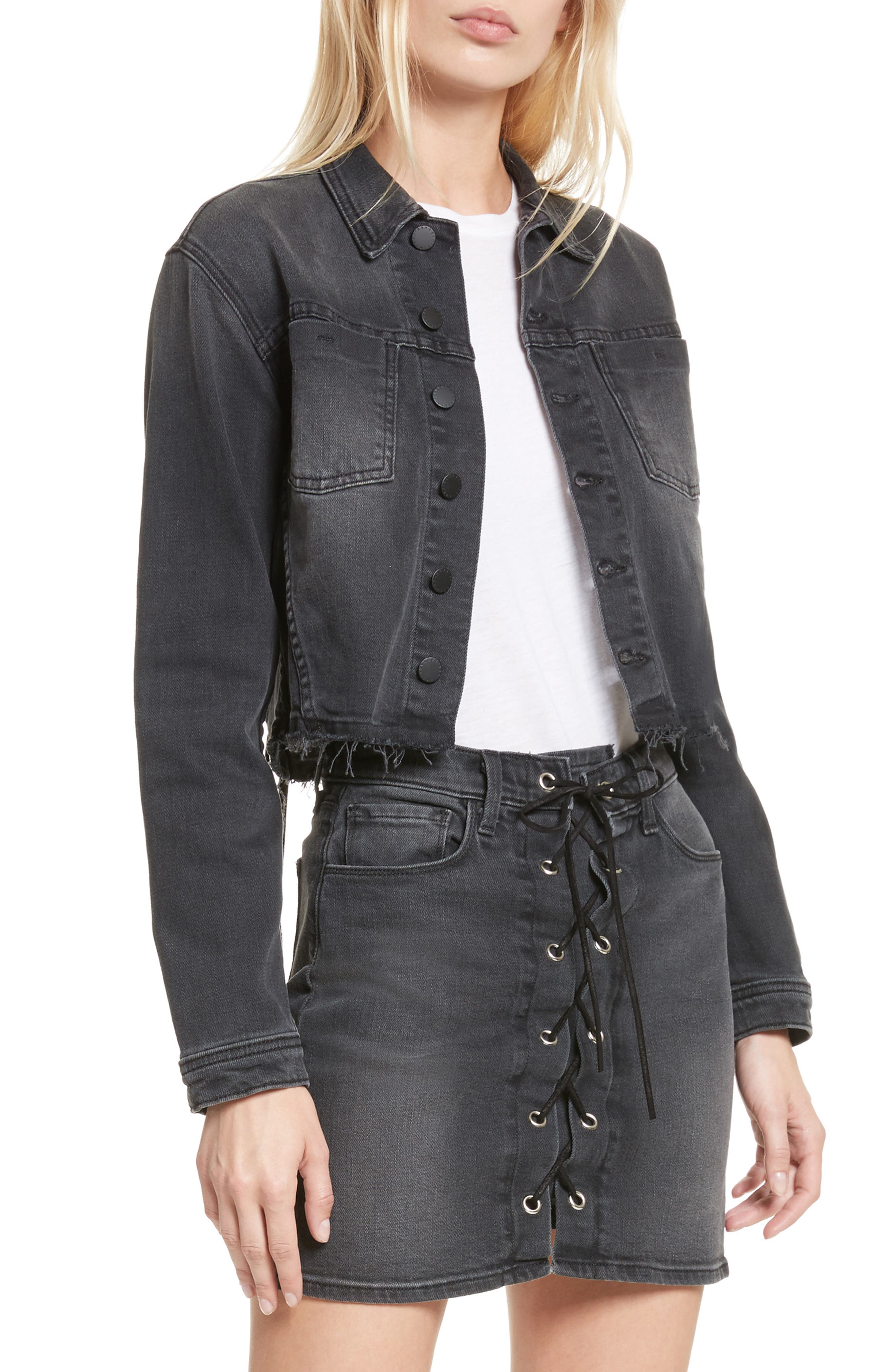 Zuma Lace Up Crop Denim Jacket,                         Main,                         color, Vintage Black