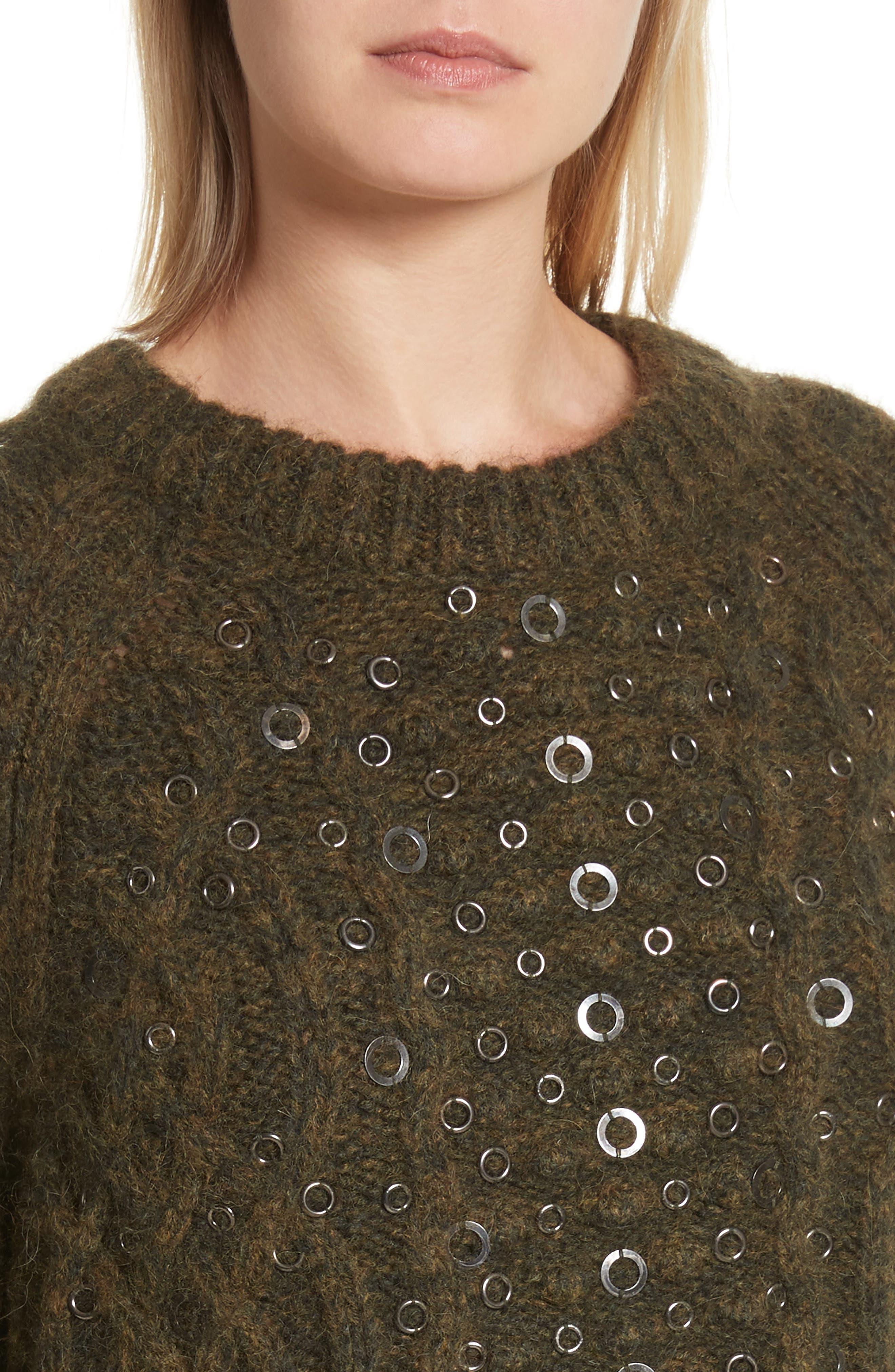 Jemima Wool & Alpaca Blend Beaded Sweater,                             Alternate thumbnail 4, color,                             Army