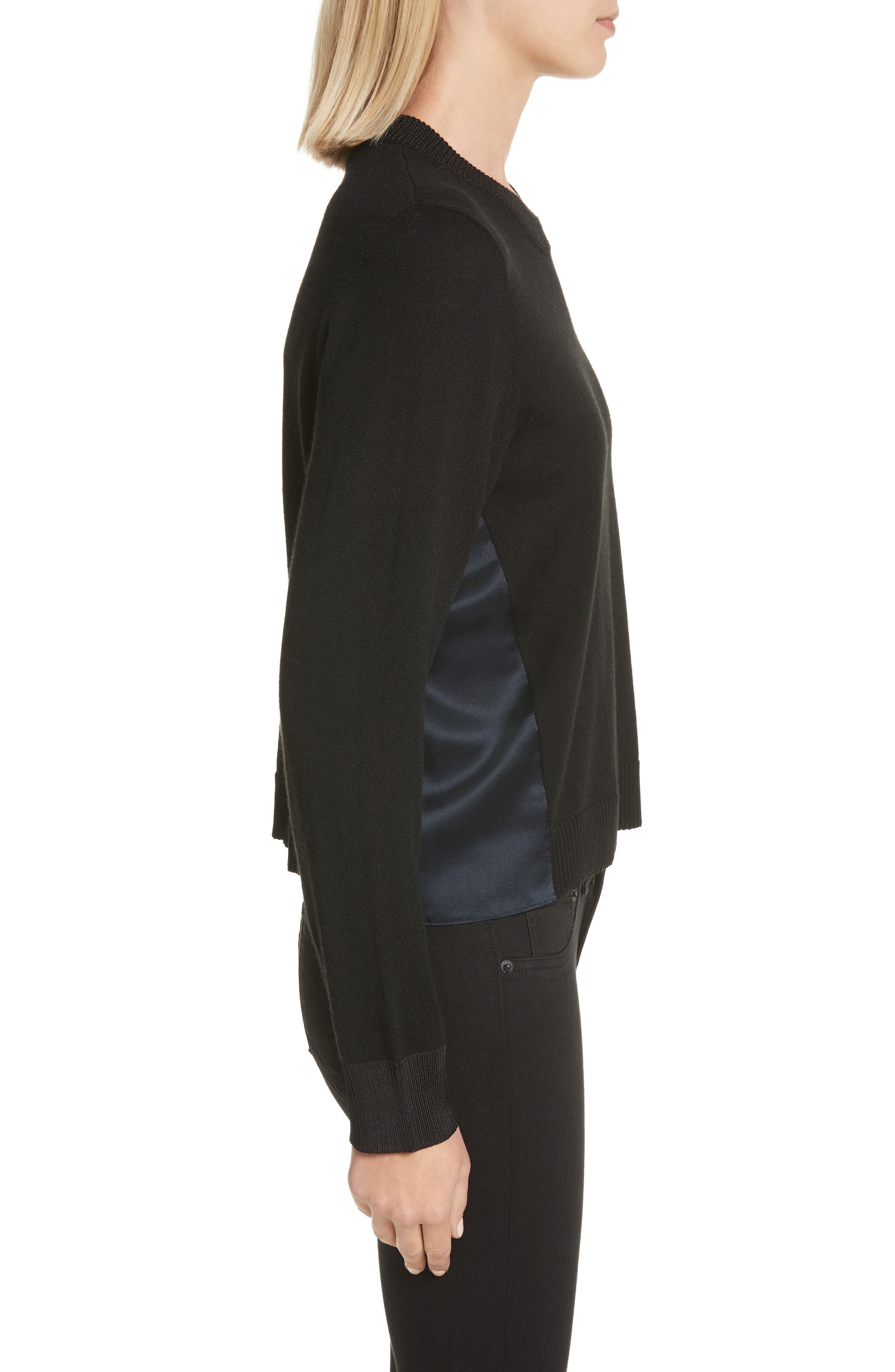 Sadie Merino Wool Blend & Silk Sweater,                             Alternate thumbnail 4, color,                             Black