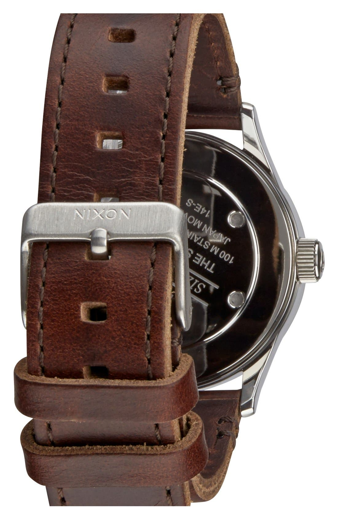 'The Sentry 38' Leather Strap Watch, 38mm,                             Alternate thumbnail 2, color,                             Blue/ Brown