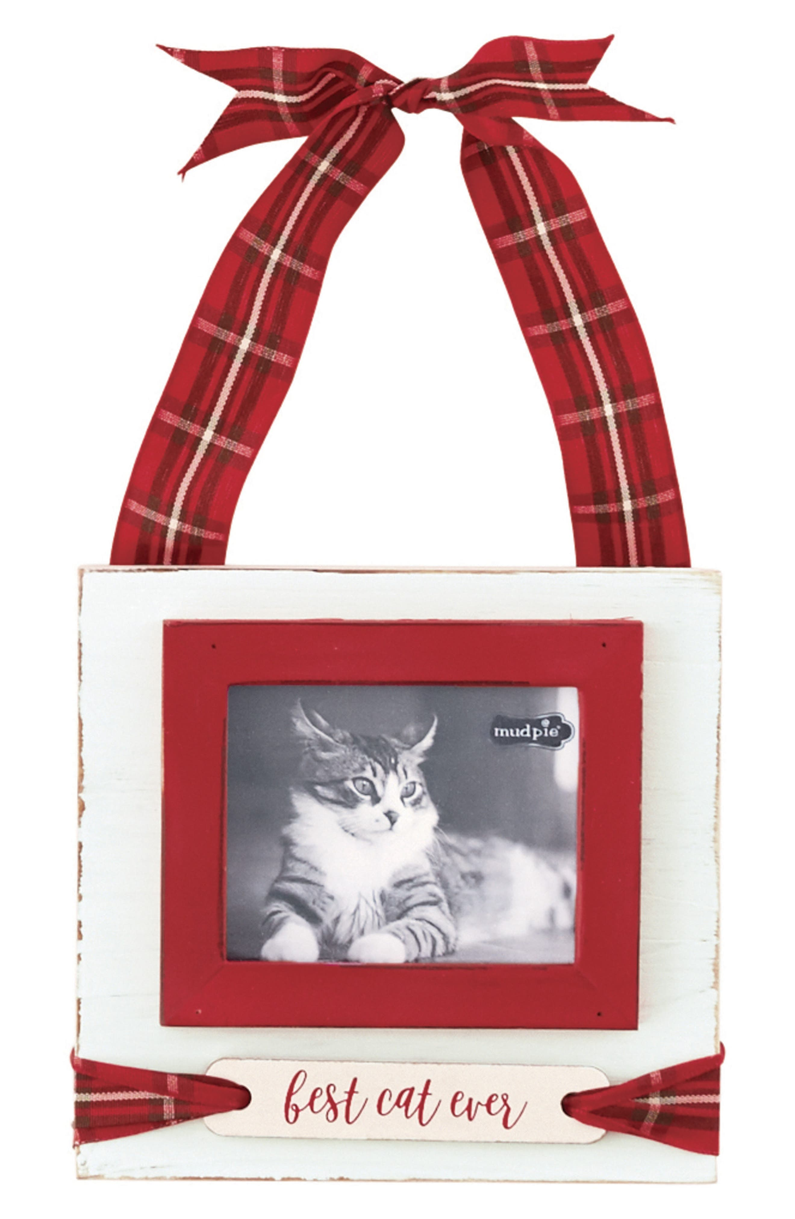 Best Cat Ever Hanging Frame Ornament,                             Main thumbnail 1, color,                             White/ Red