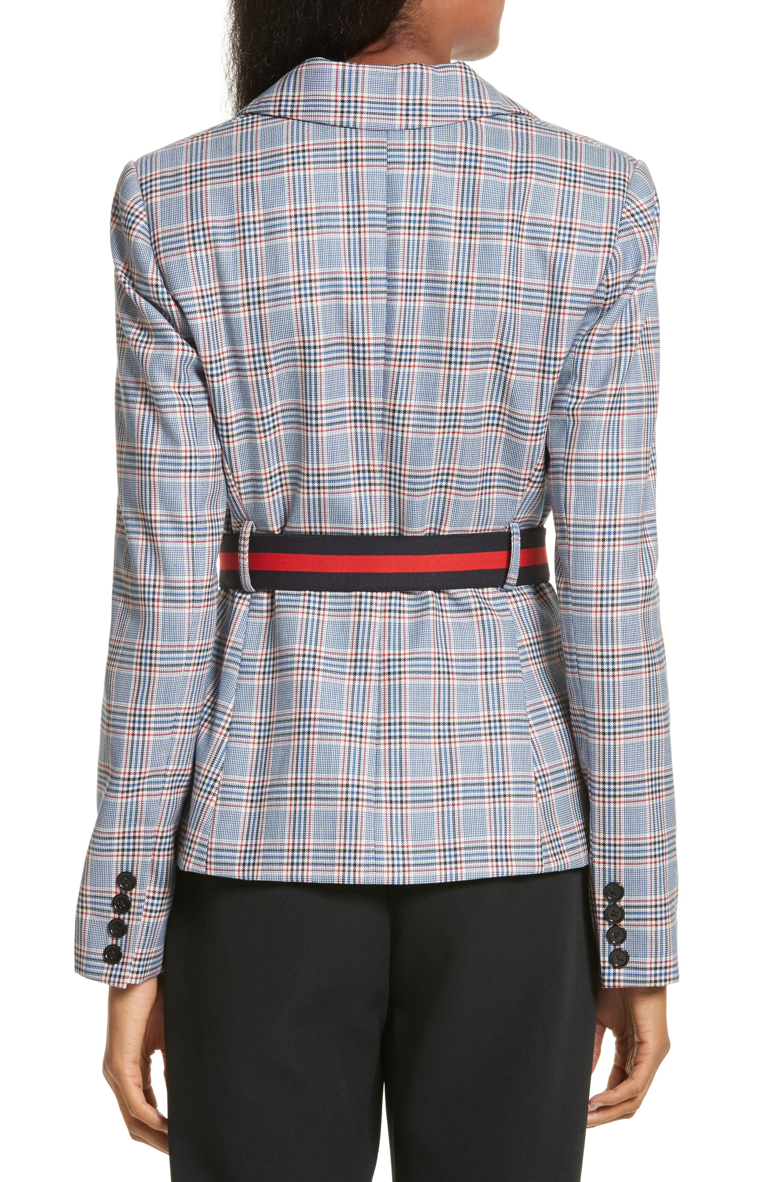 Check Suiting Belted Blazer,                             Alternate thumbnail 2, color,                             Multi