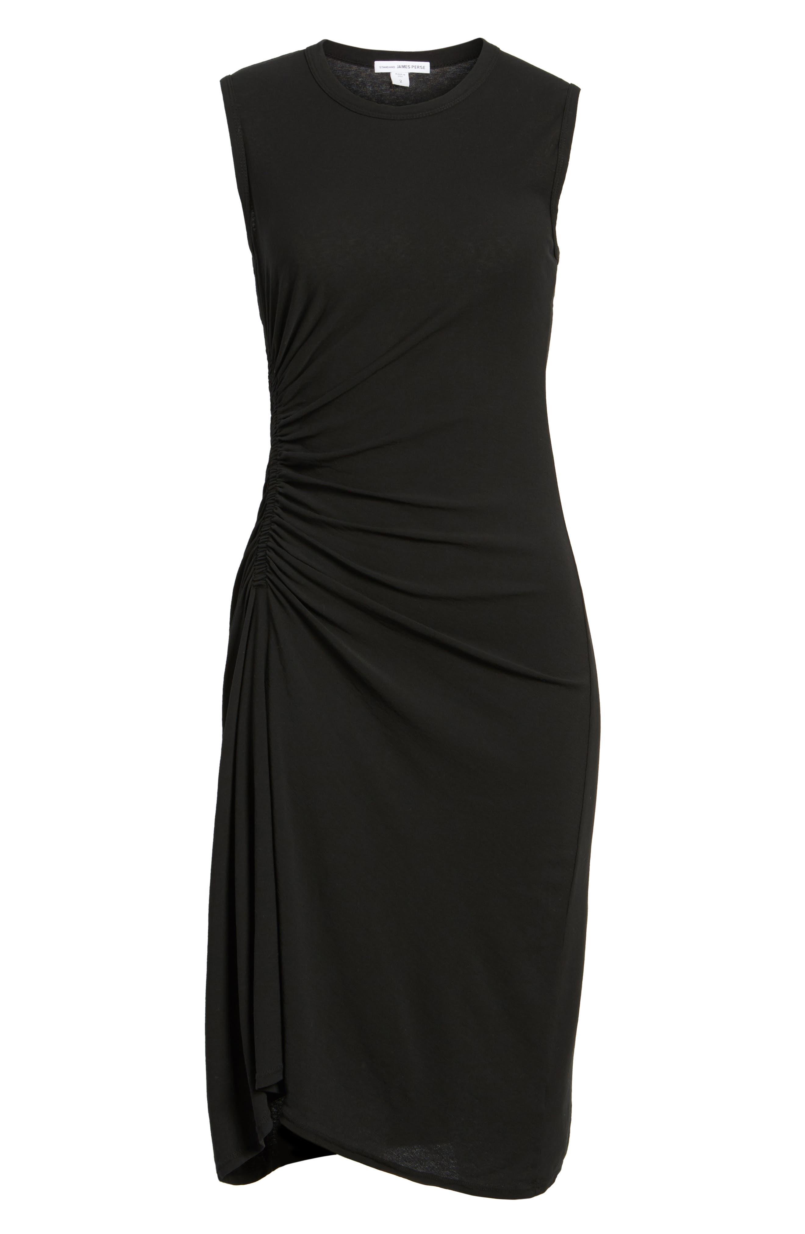 Spiral Shirred Sheath Dress,                             Alternate thumbnail 6, color,                             Black