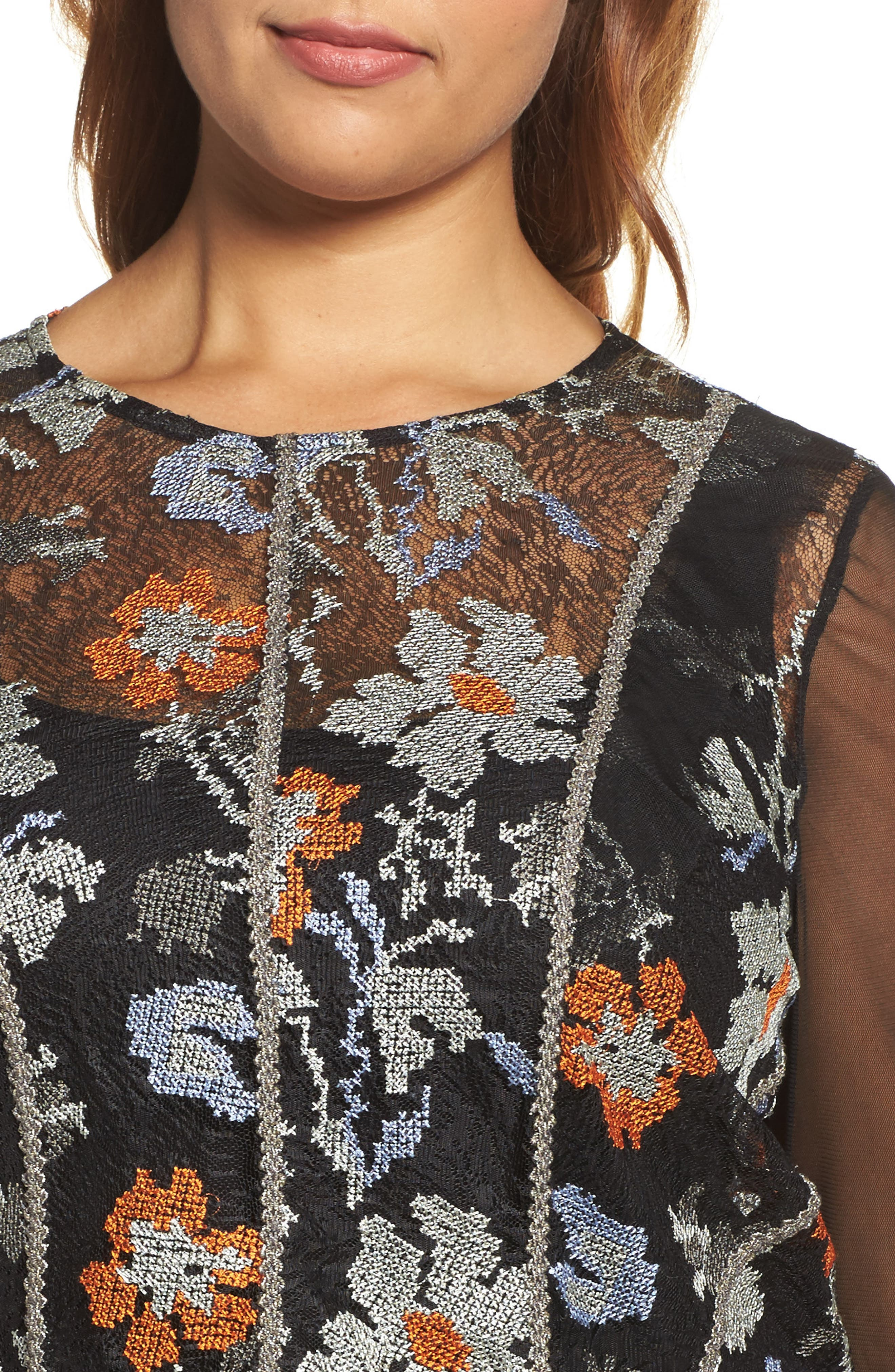 Alternate Image 4  - ELVI Abstract Floral Lace Top (Plus Size)