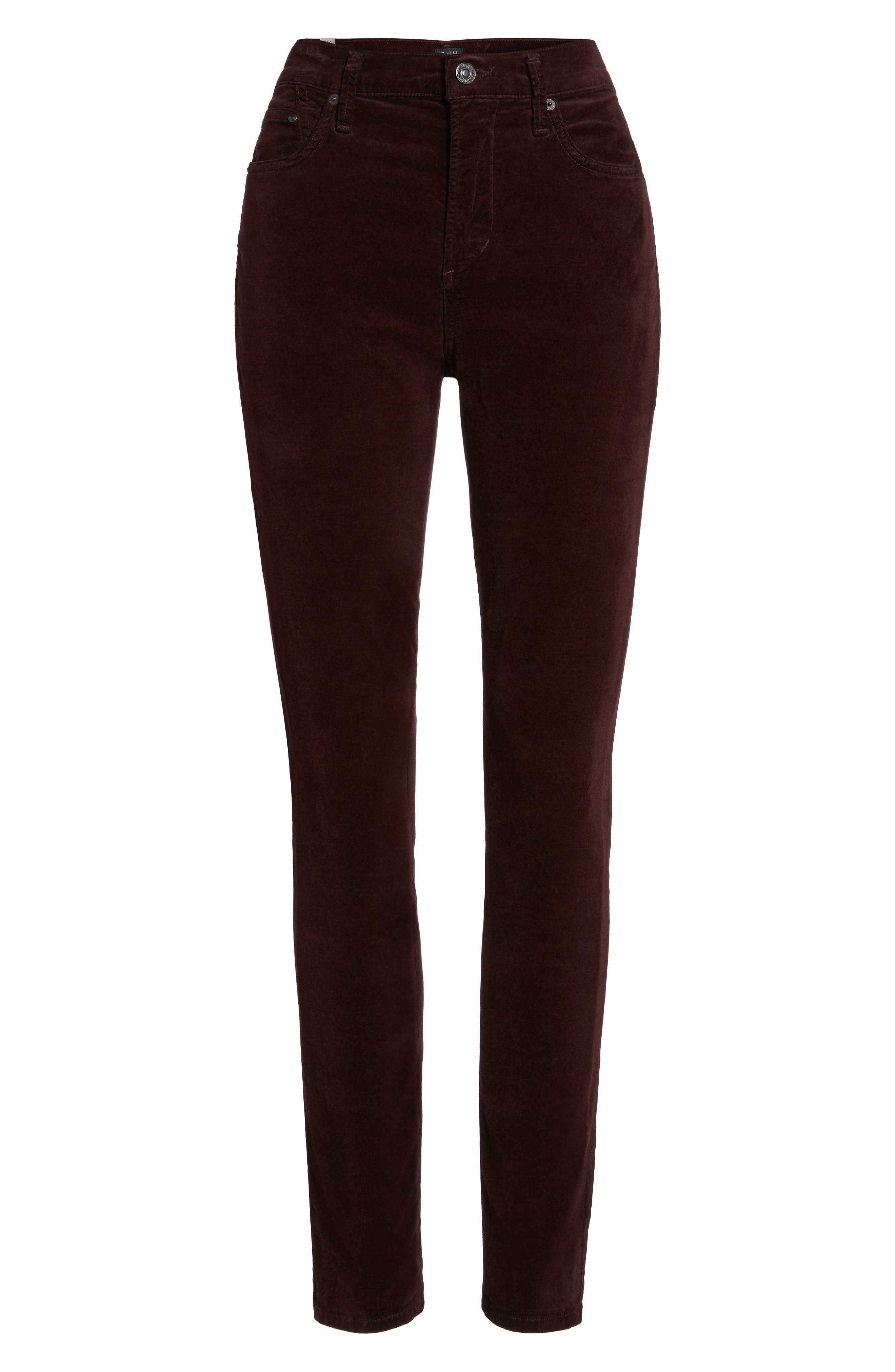 Rocket High Waist Velveteen Skinny Pants,                             Alternate thumbnail 6, color,                             Black Currant Velvet