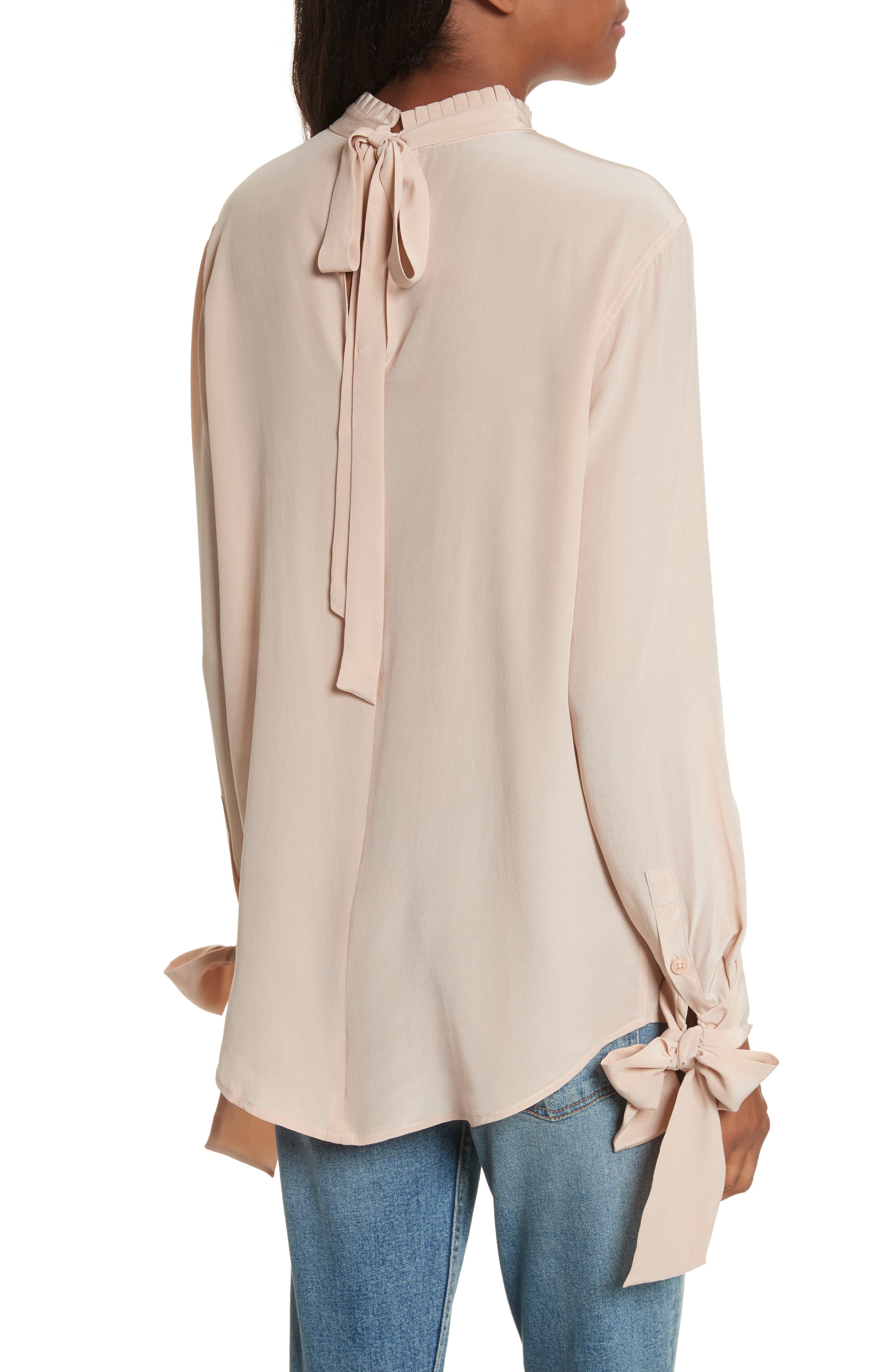 Aurora Tie Sleeve Blouse,                             Alternate thumbnail 2, color,                             French Nude