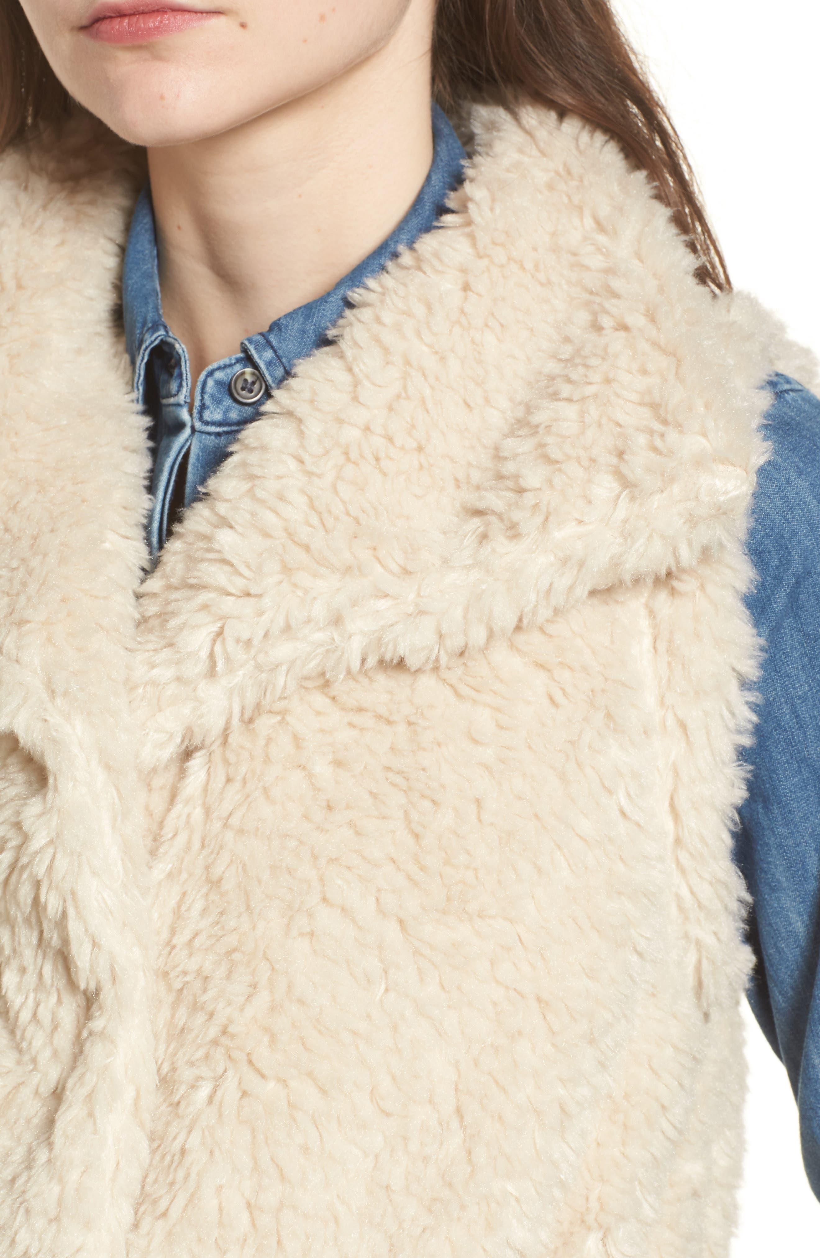 Cozy Faux Shearling Vest,                             Alternate thumbnail 4, color,                             Oatmeal