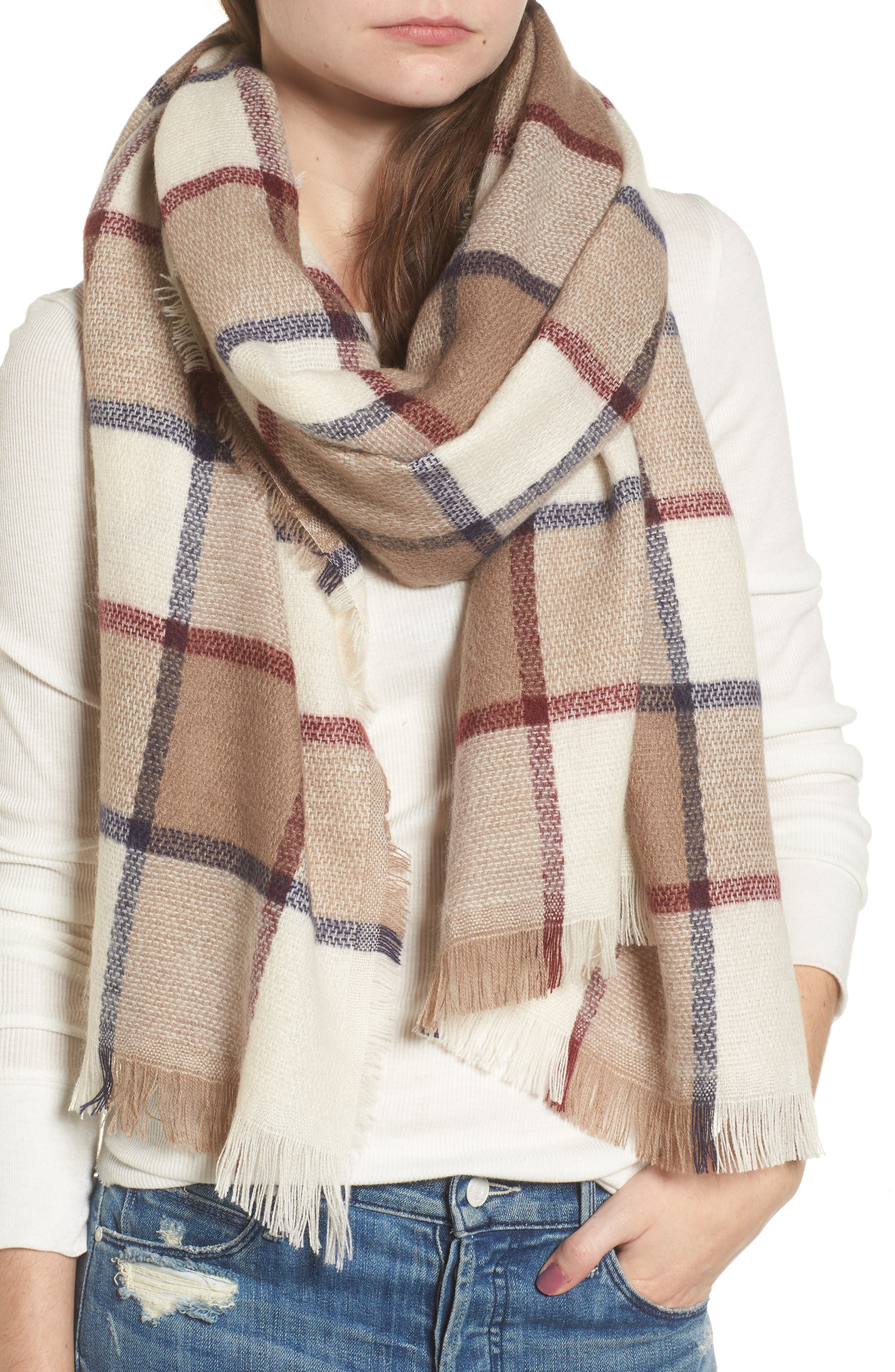 Windowpane Check Blanket Scarf,                             Alternate thumbnail 4, color,                             Ivory Combo