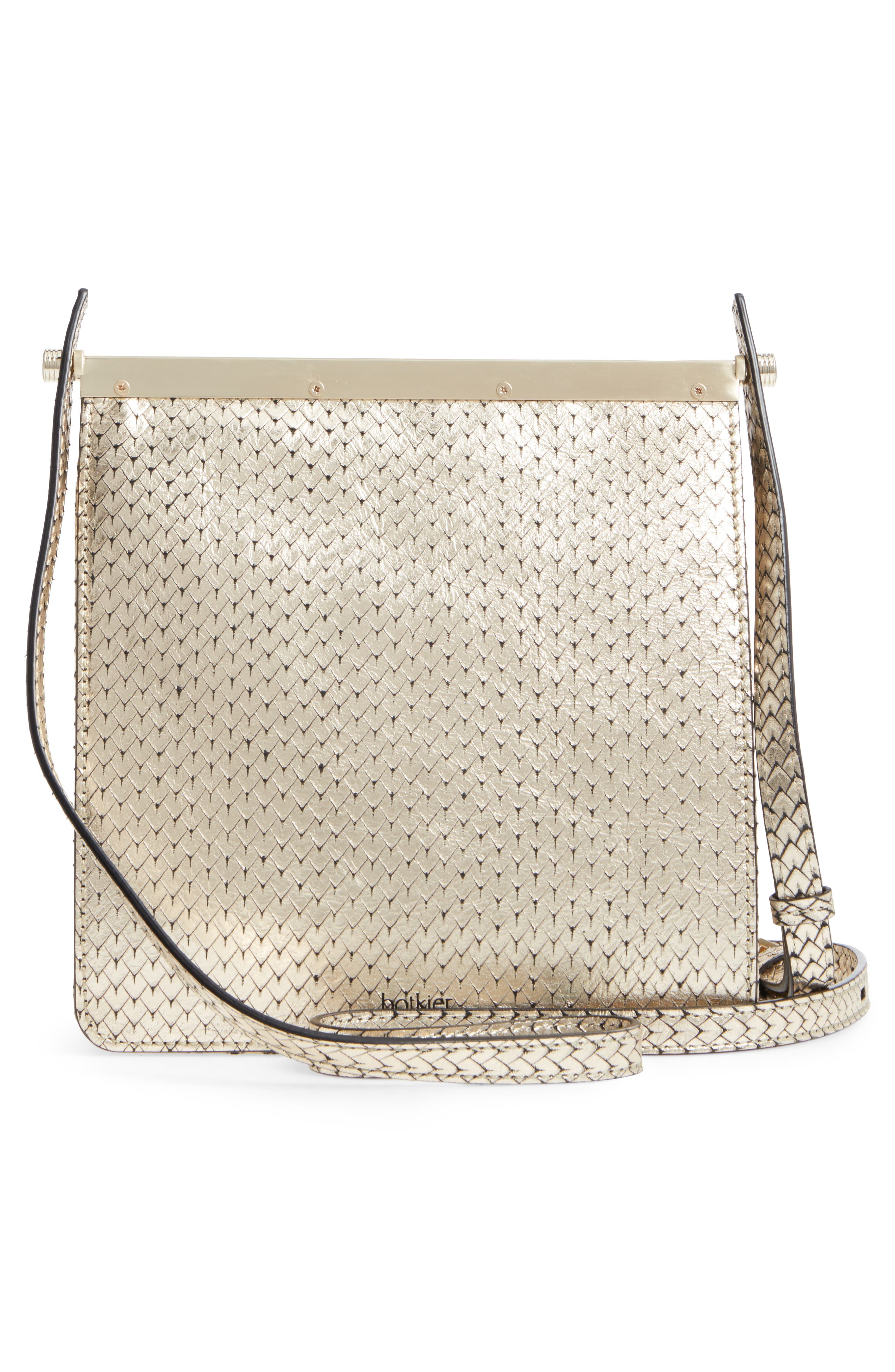 Crawford Calfskin Leather Crossbody Bag,                             Alternate thumbnail 3, color,                             Gold