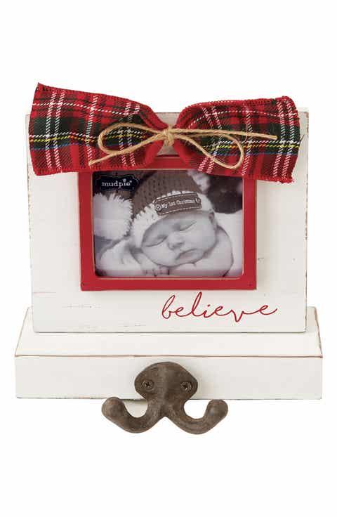 mud pie tartan bow frame christmas stocking holder - Mud Pie Frames