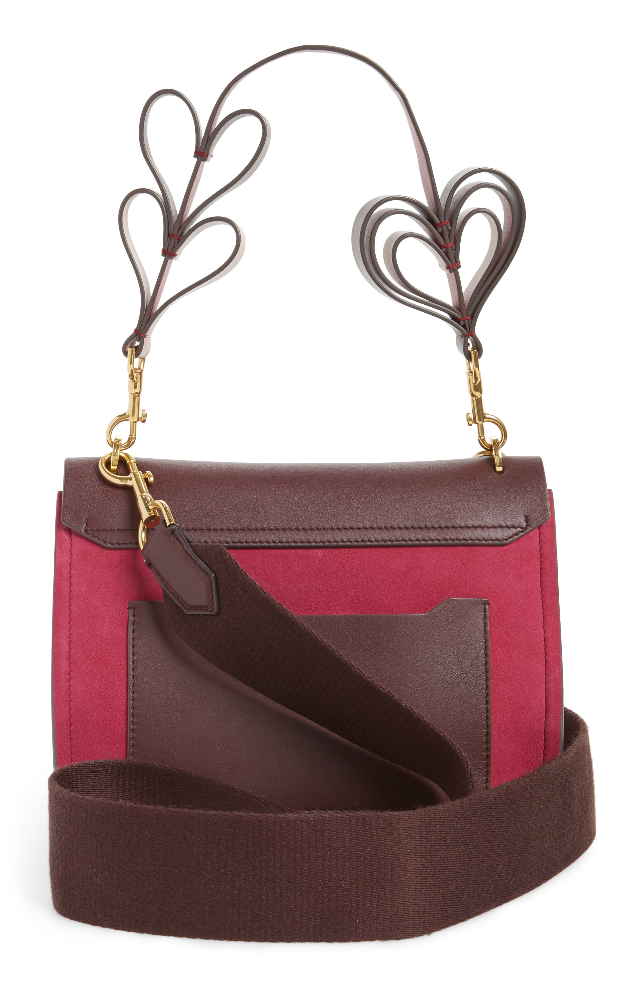 Extra Small Bathhurst Heart Leather Shoulder Bag,                             Alternate thumbnail 3, color,                             Raspberry