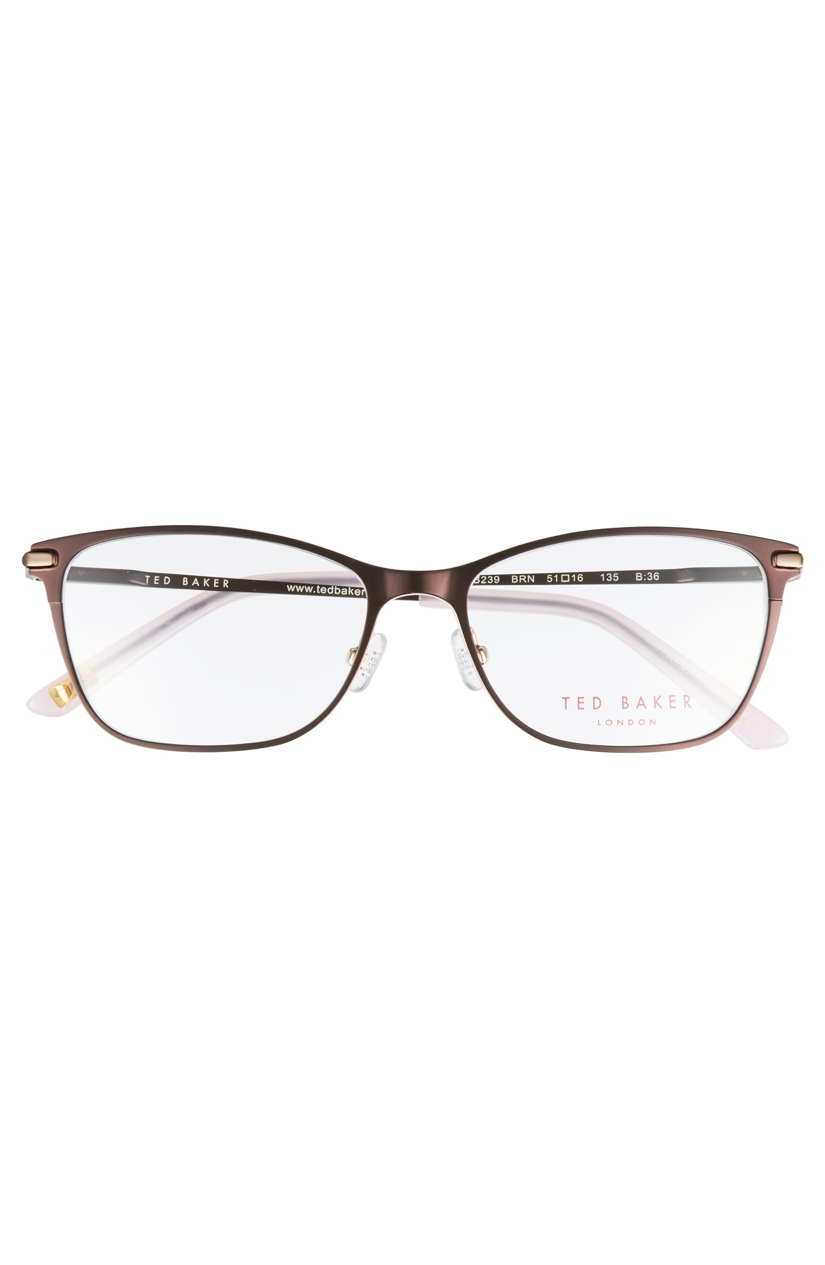 51mm Metal Cat Eye Optical Glasses,                             Alternate thumbnail 3, color,                             Brown