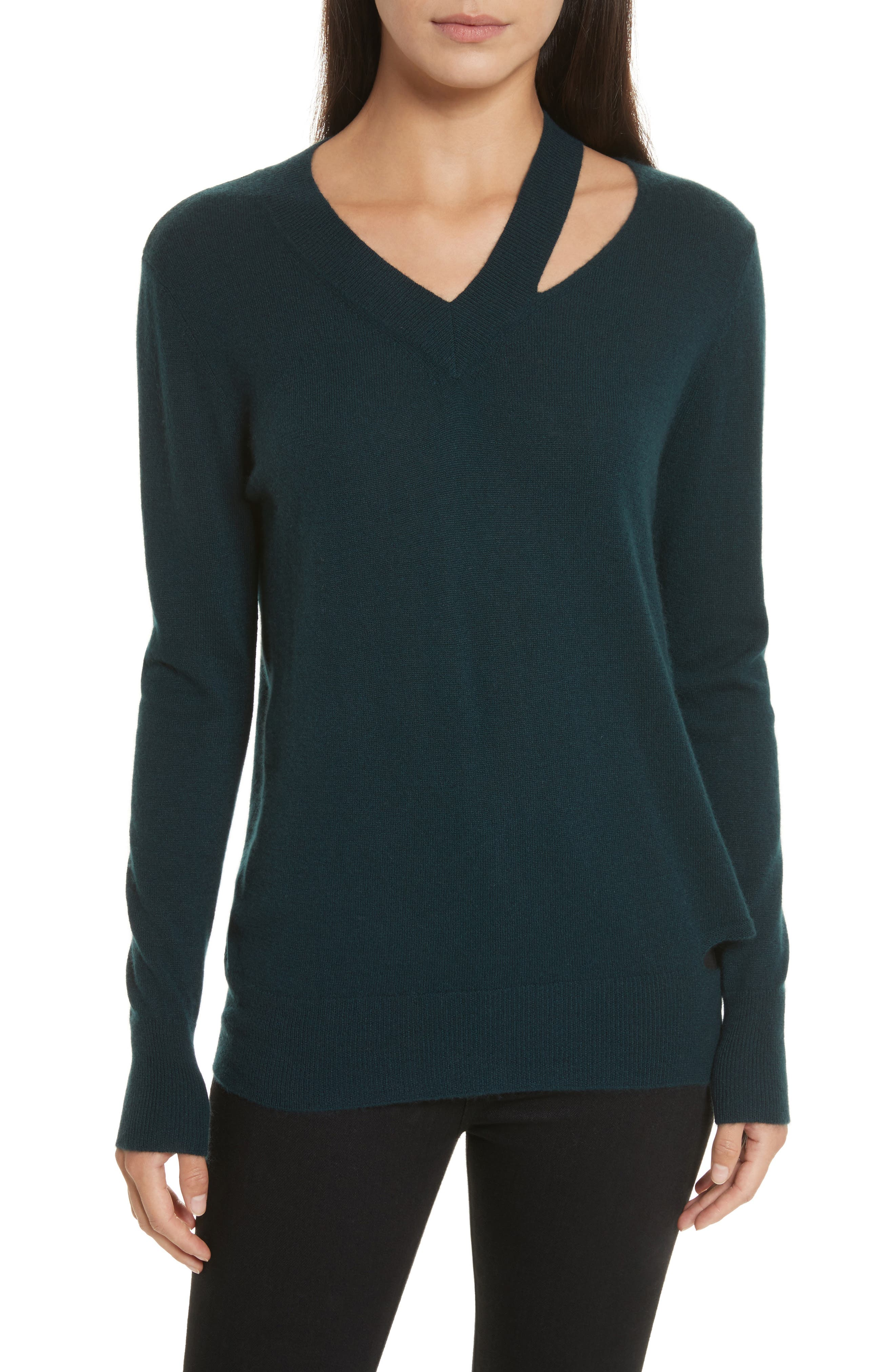 Cashmere Slash Boyfriend Sweater,                             Main thumbnail 1, color,                             Juniper