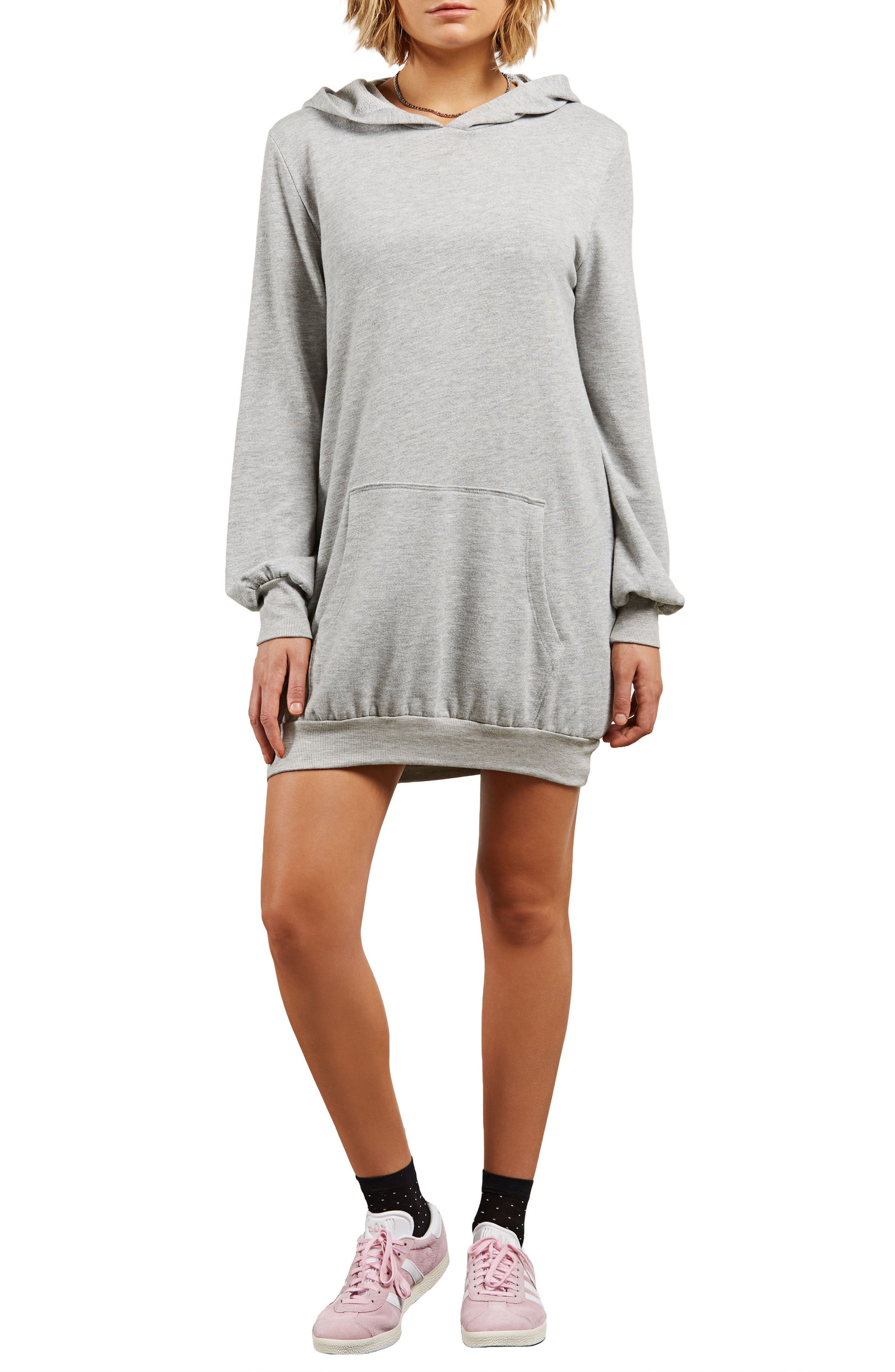 Sweatshirt Dress,                         Main,                         color, Charcoal
