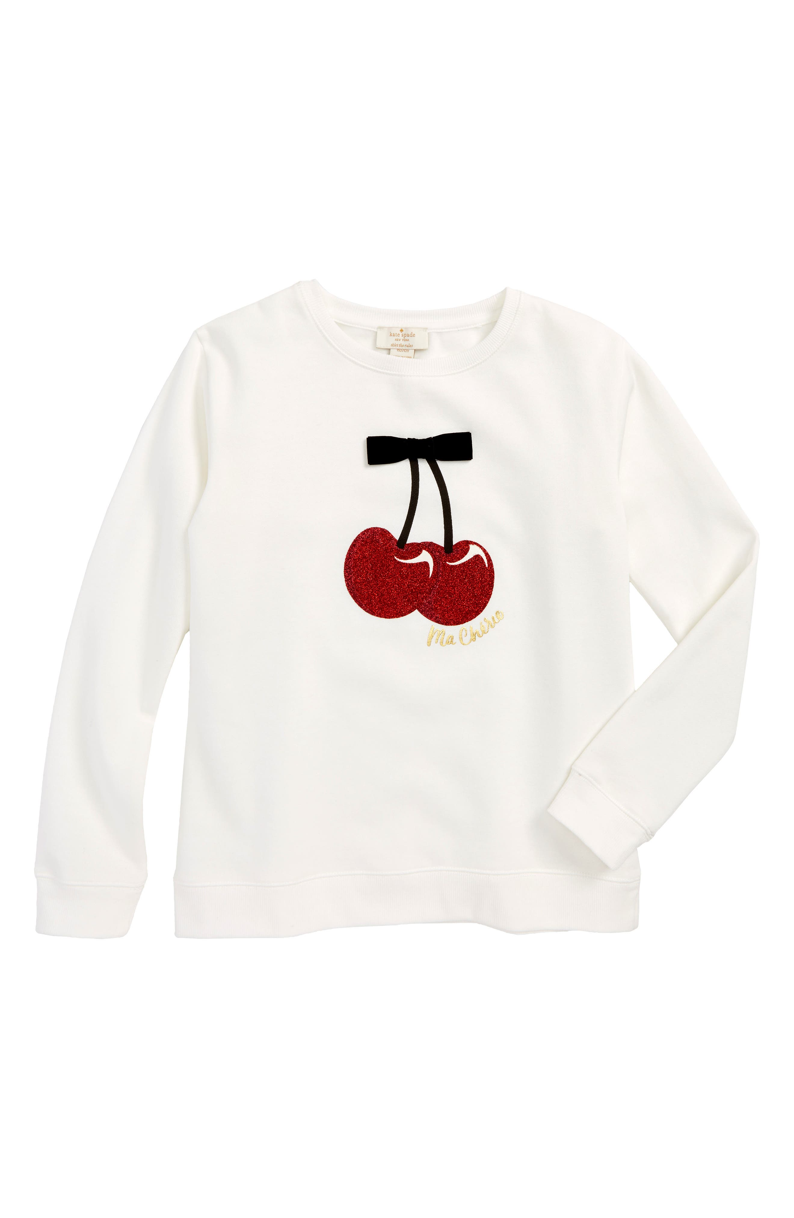 Main Image - kate spade new york cherries sweatshirt (Big Girls)
