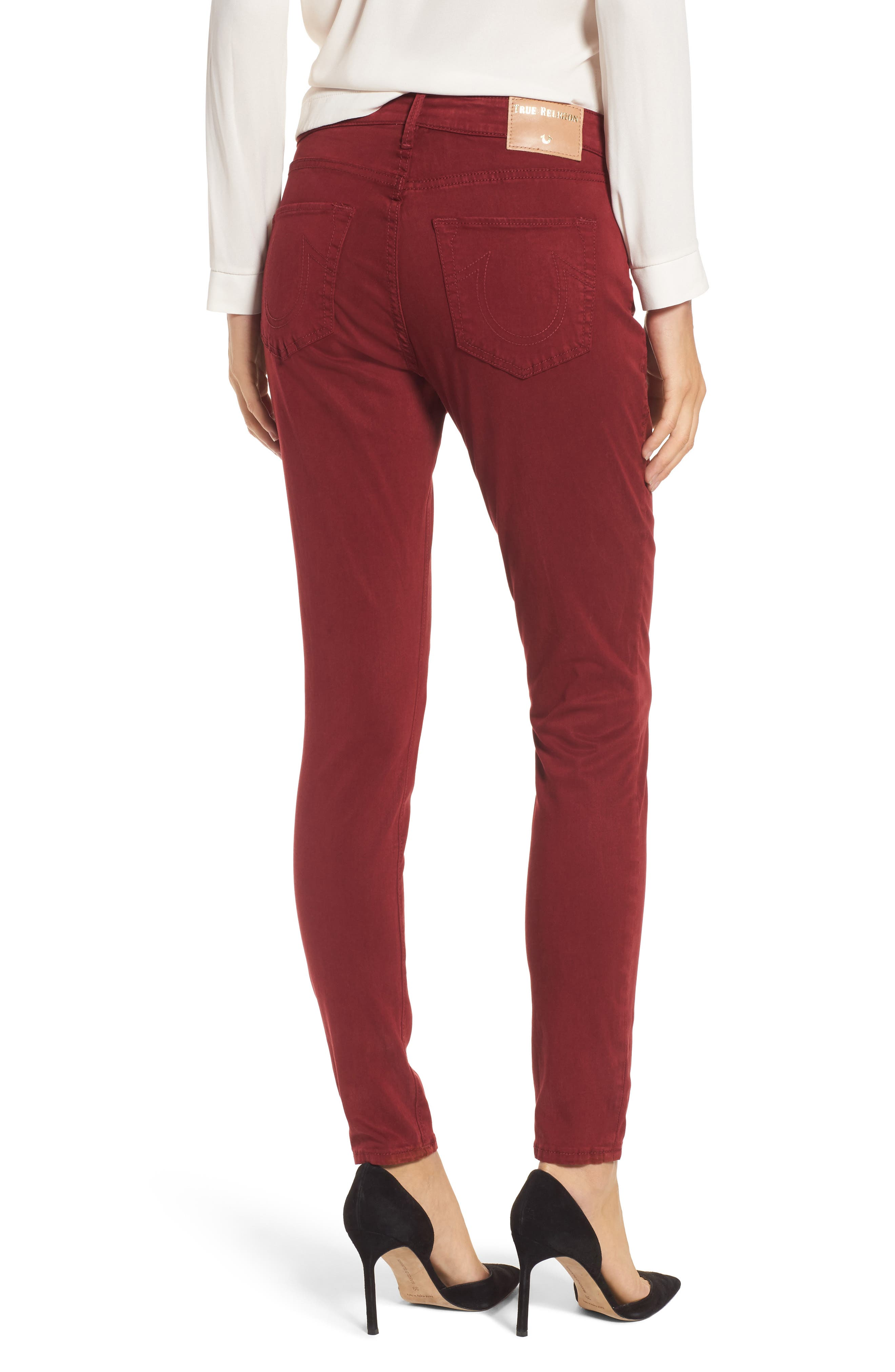 Jennie Curvy Skinny Jeans,                             Alternate thumbnail 2, color,                             Ox Blood