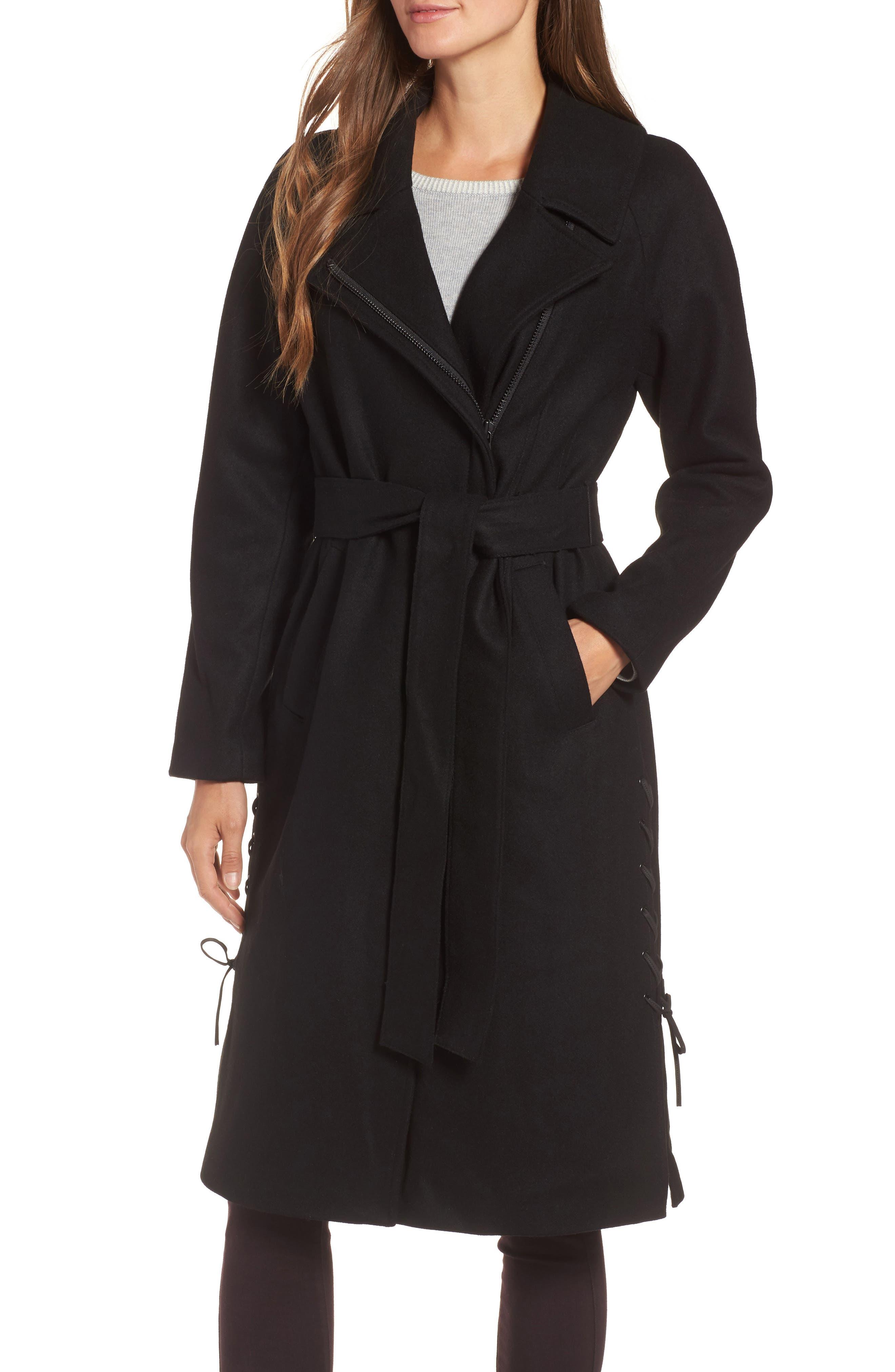Baylee Asymmetrical Wool Blend Coat,                         Main,                         color, Black