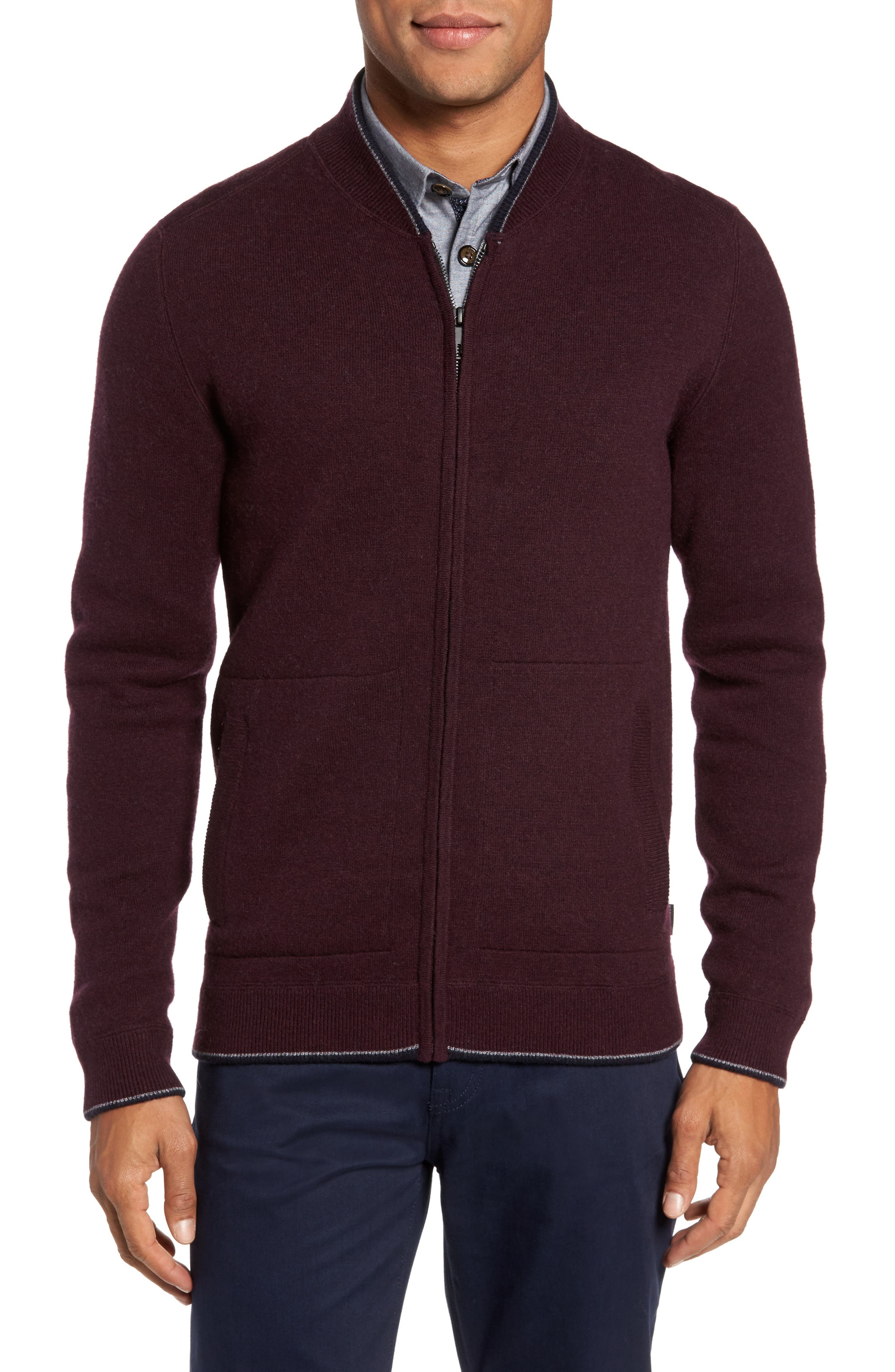 Alternate Image 1 Selected - Ted Baker London Merino Wool Baseball Sweater