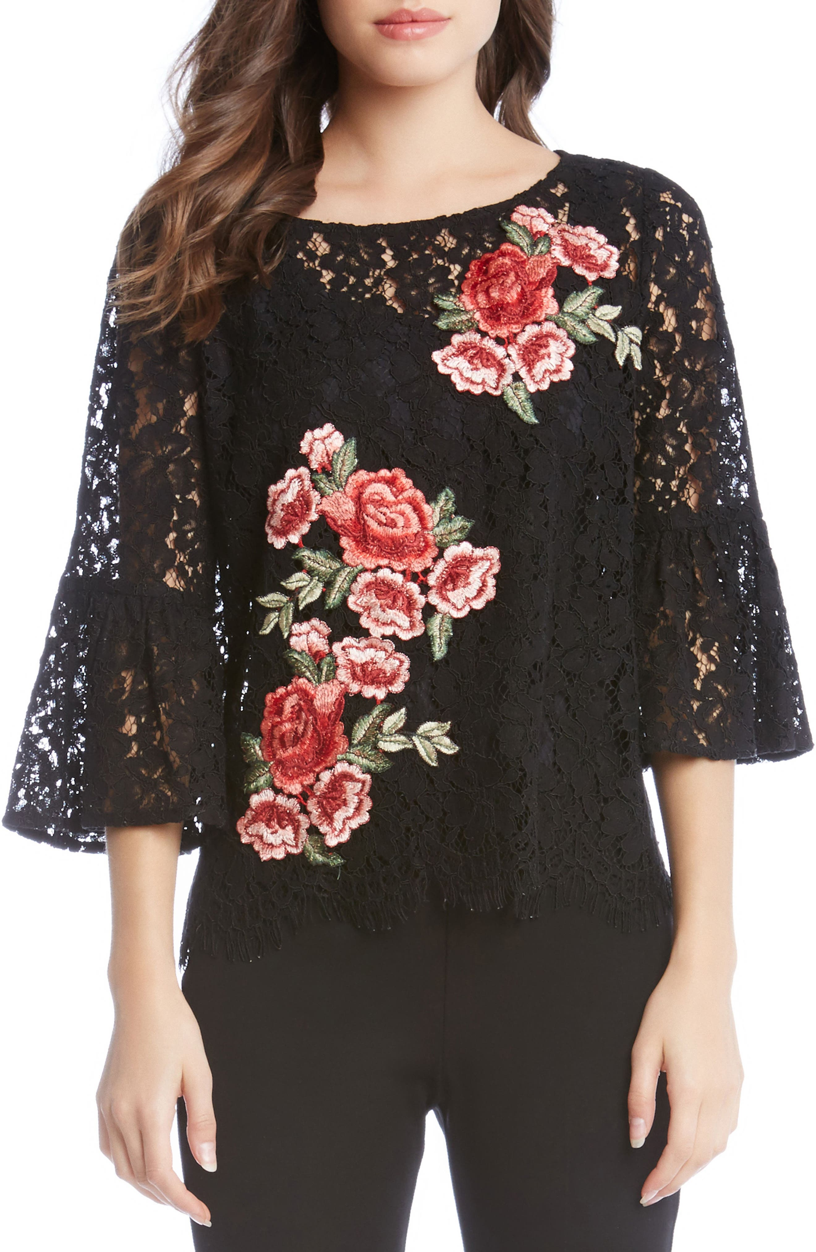 Lace Embellished Bell Sleeve Top,                             Main thumbnail 1, color,                             Black